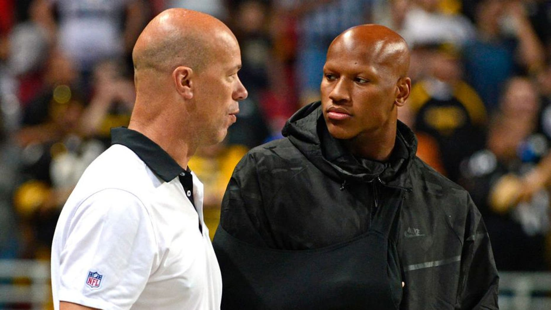 Sep 27, 2015; St. Louis, MO, USA; Pittsburgh Steelers inside linebacker Ryan Shazier (50) talks with a staff member before a game against the St. Louis Rams at the Edward Jones Dome. Steelers defeated the Rams 12-6. Mandatory Credit: Jeff Curry-USA TODAY Sports
