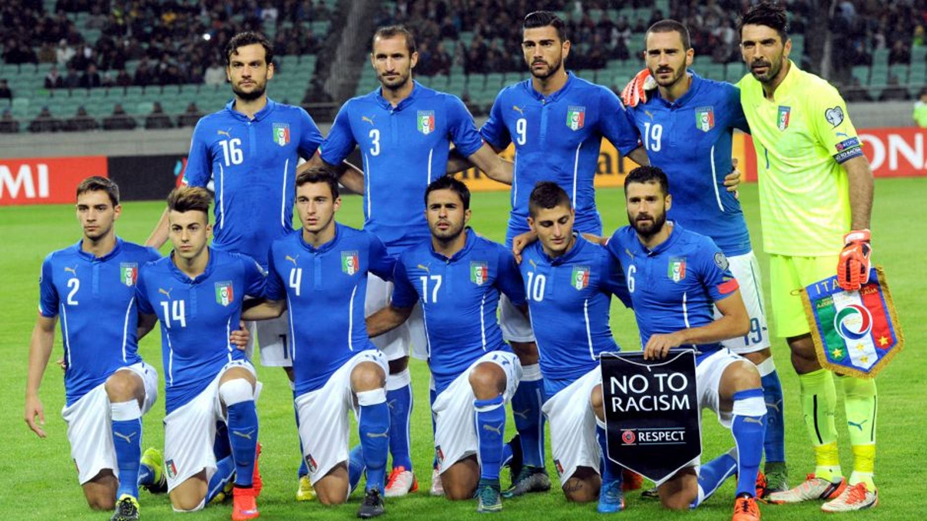 Italy's national team players (top, from left to right) Marco Parolo, Giorgio Chiellini, Graziano Pelle, Leonardo Bonucci, Gianluigi Buffon and (lower, from left to right) Mattia De Sciglio, Stephan El Shaarawy, Matteo Darmian, Eder, Marco Verratti, Antonio Candreva pose before qualifying football match (group H) Euro 2016 against Azerbaijan on October 10, 2015 at the Baku Olympia stadium in Baku. AFP PHOTO / VANO SHLAMOV (Photo credit should read VANO SHLAMOV/AFP/Getty Images)