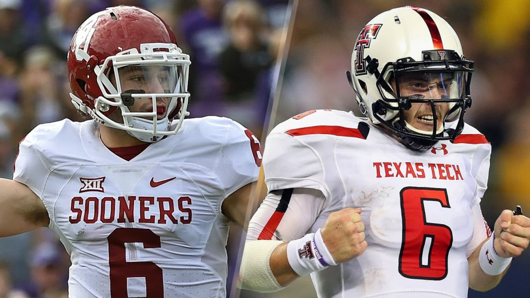 Quarterback Baker Mayfield #6 of the Oklahoma Sooners passes the ball against the Kansas State Wildcats during the first half on October 17, 2015 at Bill Snyder Family Stadium in Manhattan, Kansas. (Photo by Peter G. Aiken/Getty Images) Baker Mayfield #6 of the Texas Tech Red Raiders celebrates his second touchdown pass against the Baylor Bears at AT&T Stadium on November 16, 2013 in Arlington, Texas. (Photo by Ronald Martinez/Getty Images)