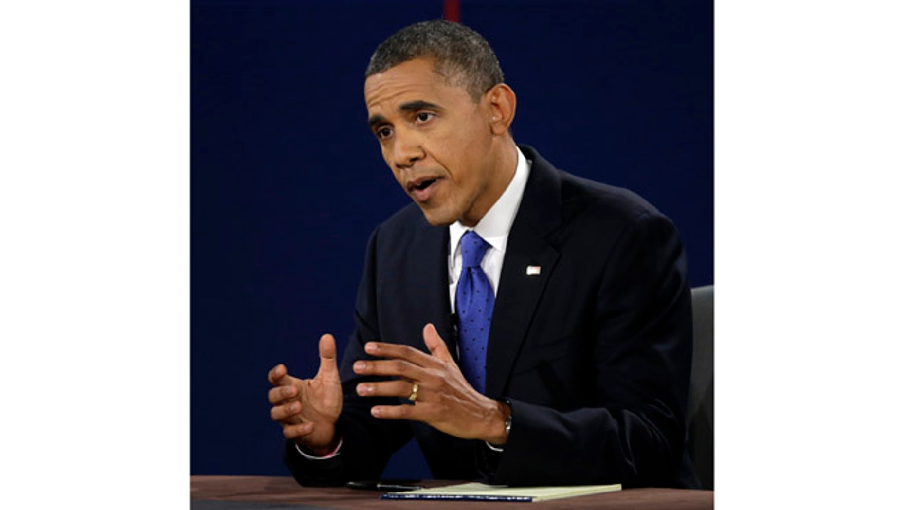 Oct. 22, 2012: President Barack Obama answers a question during the third presidential debate at Lynn University in Boca Raton, Fla.