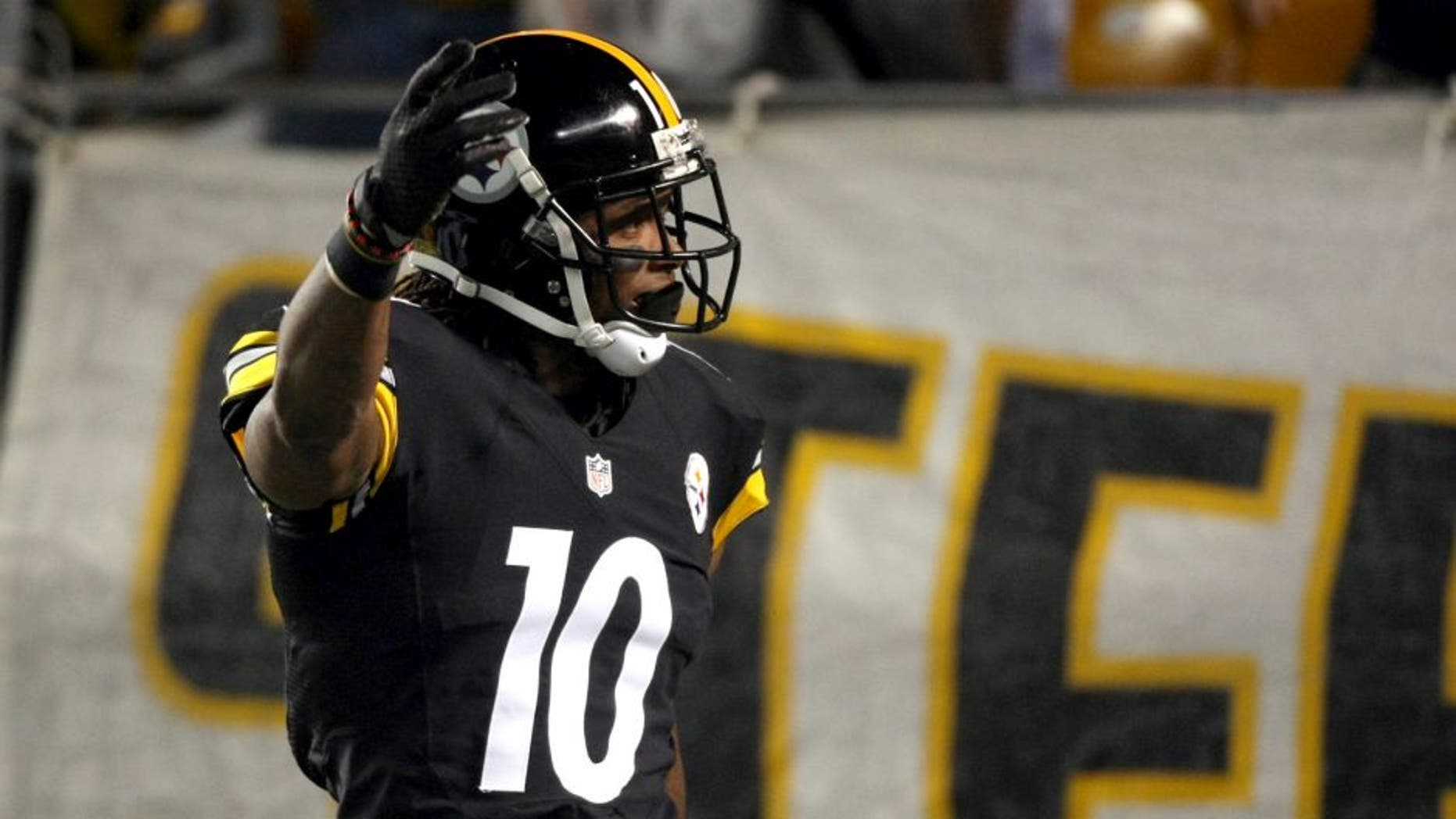 Oct 20, 2014; Pittsburgh, PA, USA; Pittsburgh Steelers wide receiver Martavis Bryant (10) celebrates his touchdown catch against the Houston Texans during the first half at Heinz Field. Mandatory Credit: Jason Bridge-USA TODAY Sports