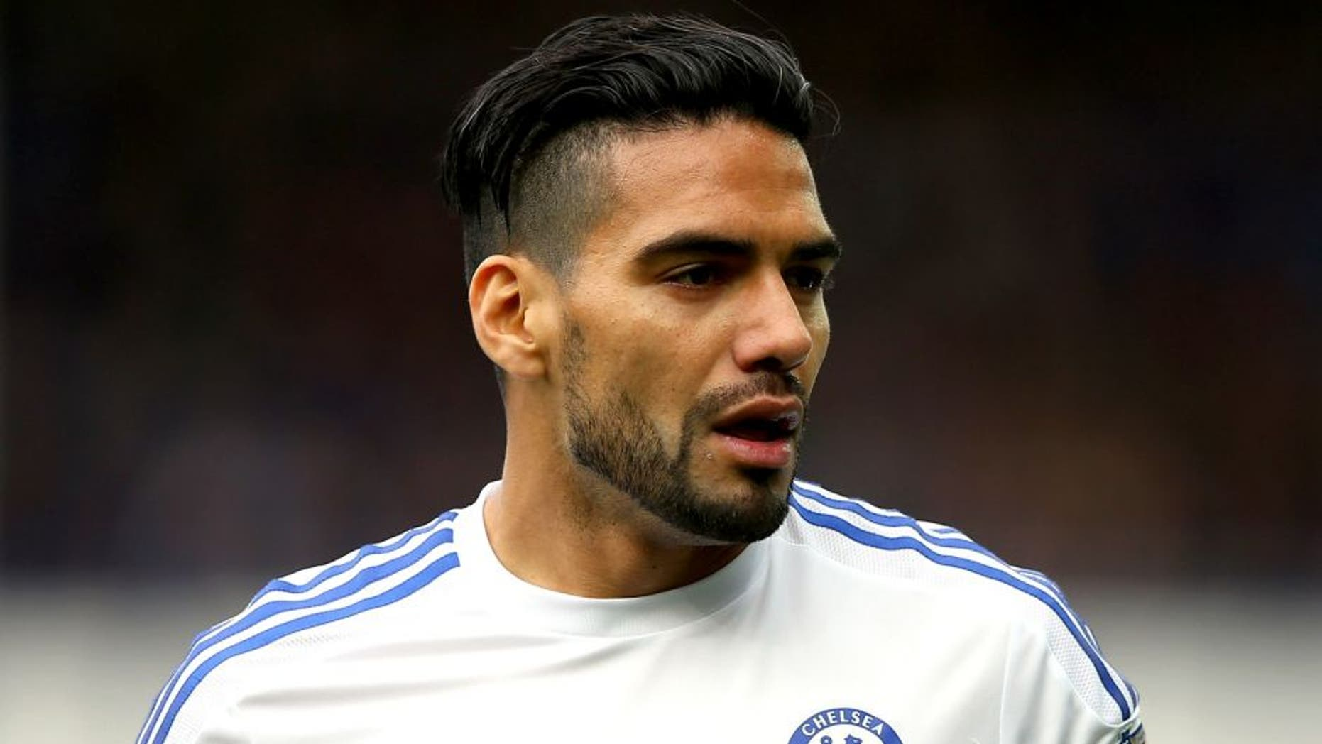 LIVERPOOL, ENGLAND - SEPTEMBER 12: Radamel Falcao of Chelsea looks on during the Barclays Premier League match between Everton and Chelsea at Goodison Park on September 12, 2015 in Liverpool, United Kingdom. (Photo by Alex Livesey/Getty Images)