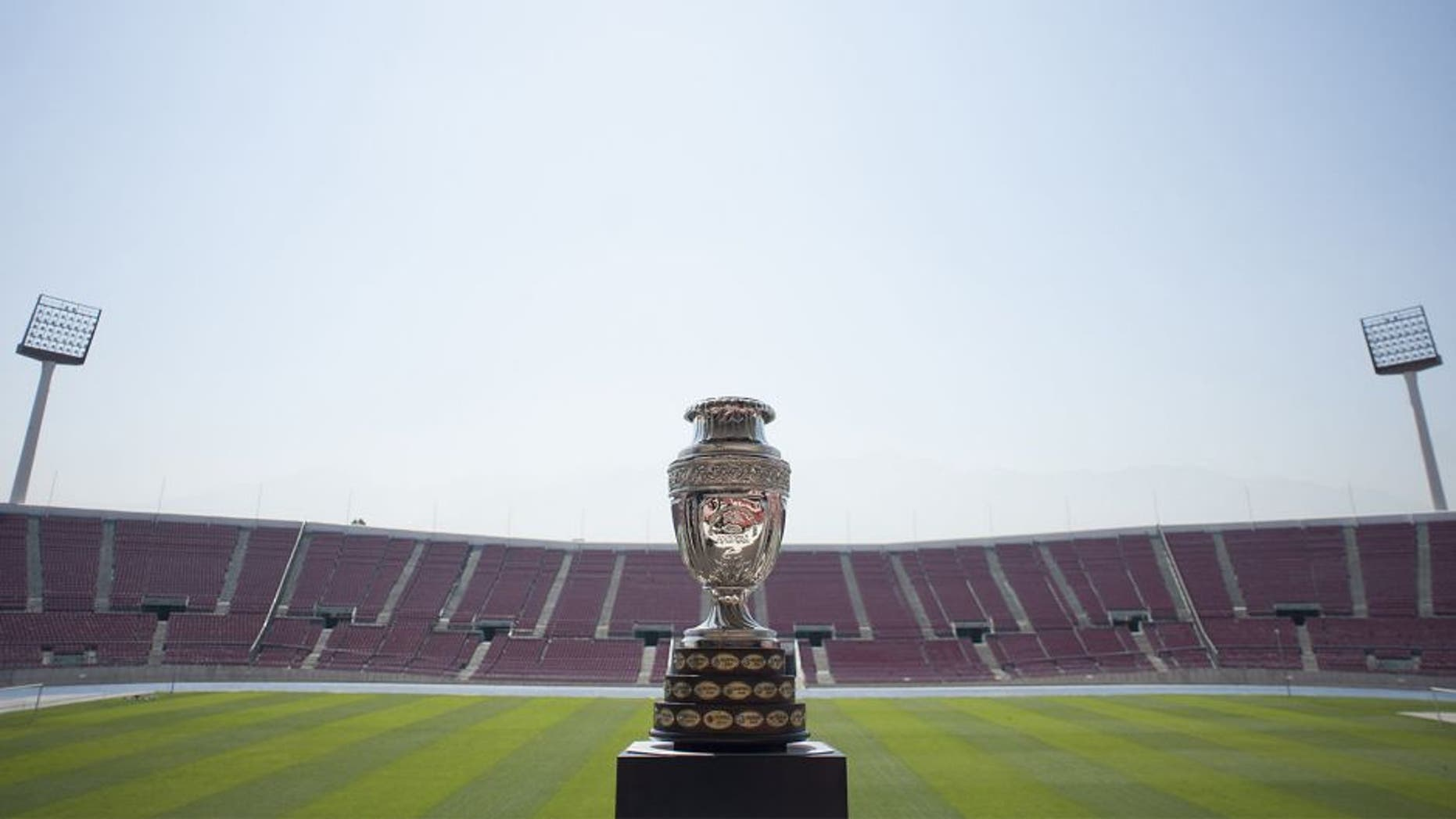 The trophy of the Copa America Chile 2015 is seen at the National Stadium of Chile during the opening ceremony of the Trophy Tour in Santiago on January 14, 2015. The Trophy Tour will visit the 11 cities where the Copa America will take place. AFP PHOTO/Vladimir Rodas (Photo credit should read VLADIMIR RODAS/AFP/Getty Images)