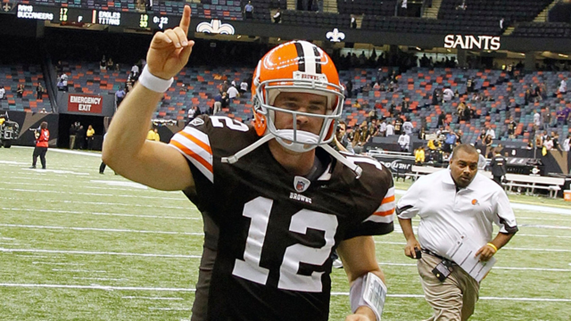 Oct. 24: Cleveland Browns quarterback Colt McCoy (12) runs off the field after his NFL football game against the New Orleans Saints at the Louisiana Superdome in New Orleans.
