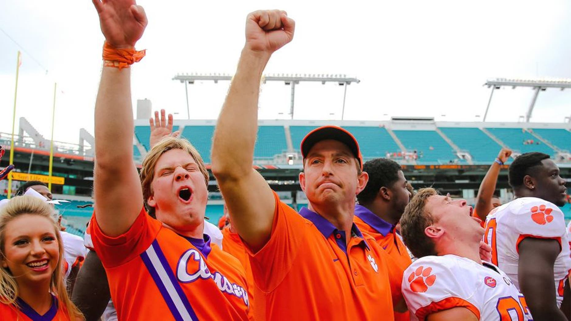 Oct 24, 2015; Miami Gardens, FL, USA; Clemson Tigers head coach Dabo Swinney celebrates his win against the Miami Hurricanes at Sun Life Stadium. Mandatory Credit: Steve Mitchell-USA TODAY Sports