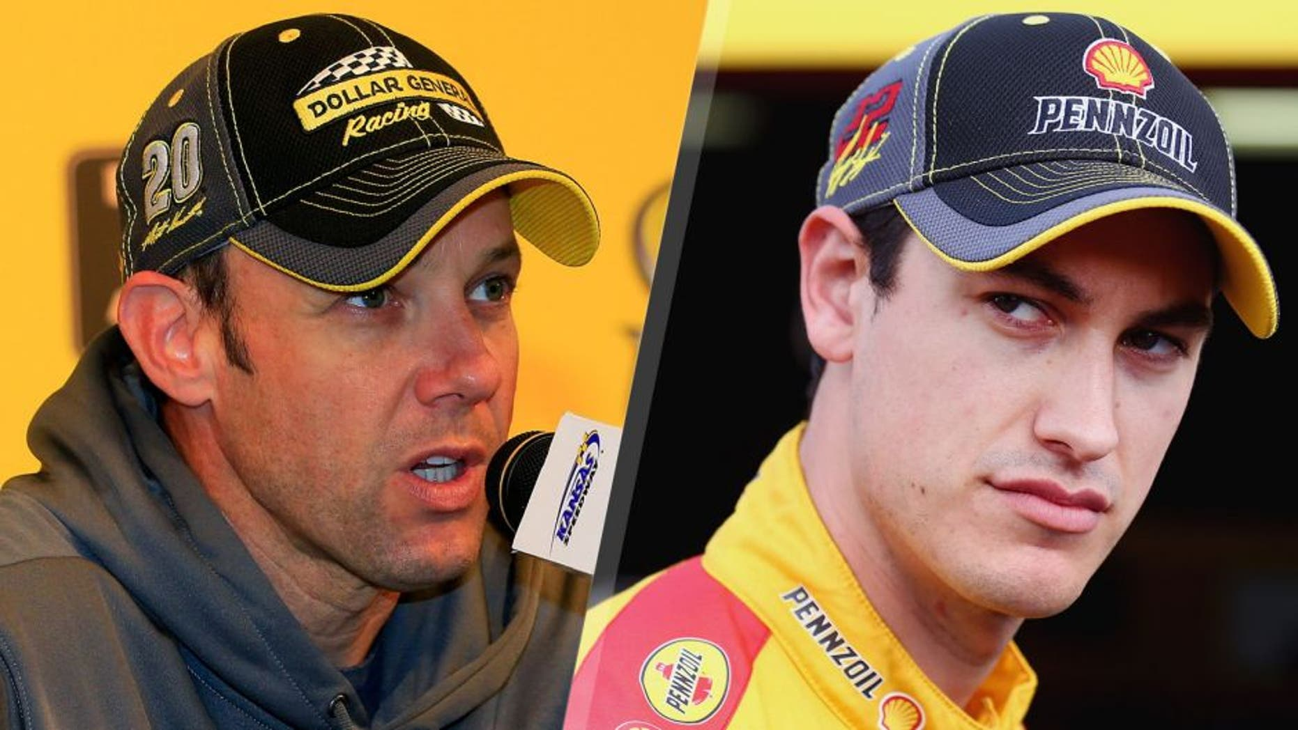 L- KANSAS CITY, KS - OCTOBER 16: Matt Kenseth, driver of the #20 Dollar General Toyota, speaks to the media during a press conference prior to practice for the NASCAR Sprint Cup Series Hollywood Casino 400 at Kansas Speedway on October 16, 2015 in Kansas City, Kansas. (Photo by Chris Trotman/NASCAR via Getty Images) R- TALLADEGA, AL - OCTOBER 23: Joey Logano, driver of the #22 Shell Pennzoil Ford, stands in the garage area during practice for the NASCAR Sprint Cup Series CampingWorld.com 500 at Talladega Superspeedway on October 23, 2015 in Talladega, Alabama. (Photo by Tom Pennington/Getty Images)