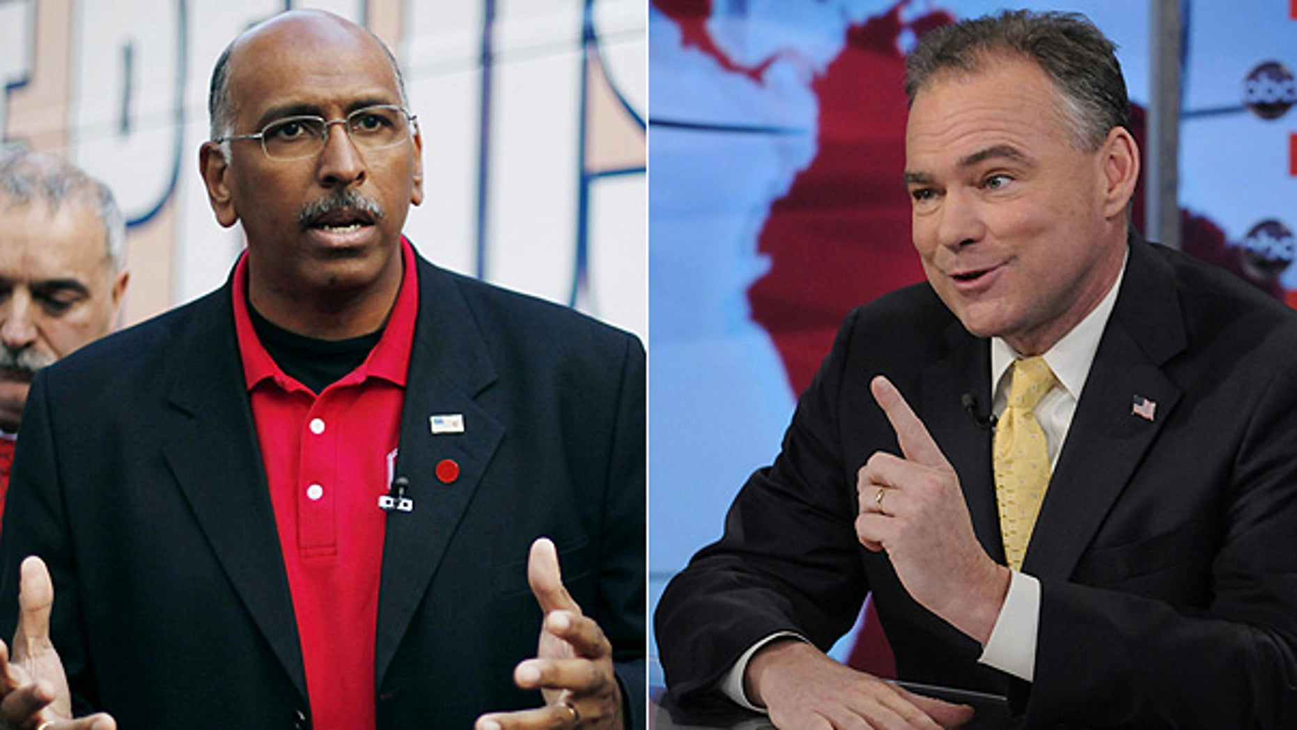 Republican National Committee Chairman Michael Steele, left, and Democratic National Committee Chairman Tim Kaine.