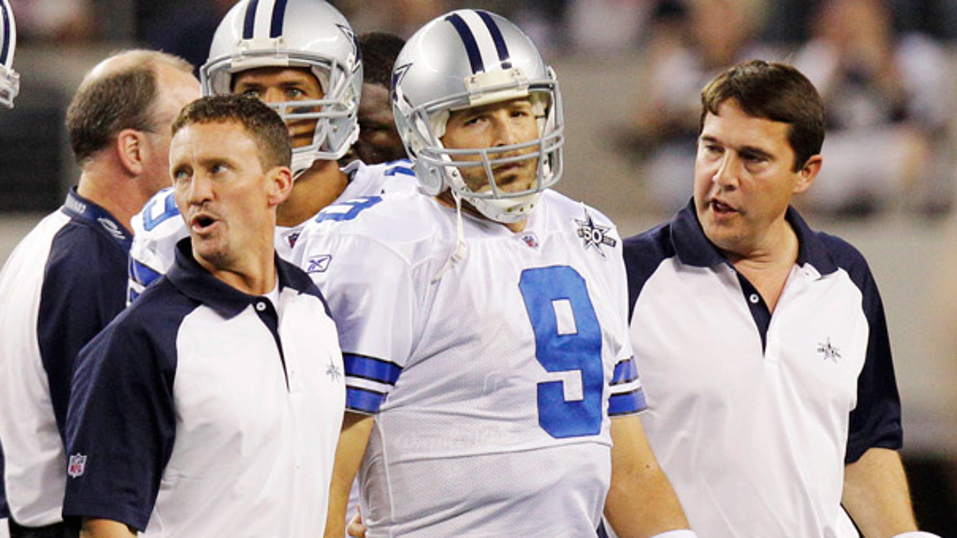 Oct. 25: Cowboys quarterback Tony Romo leaves the field during the second quarter against the Giants.