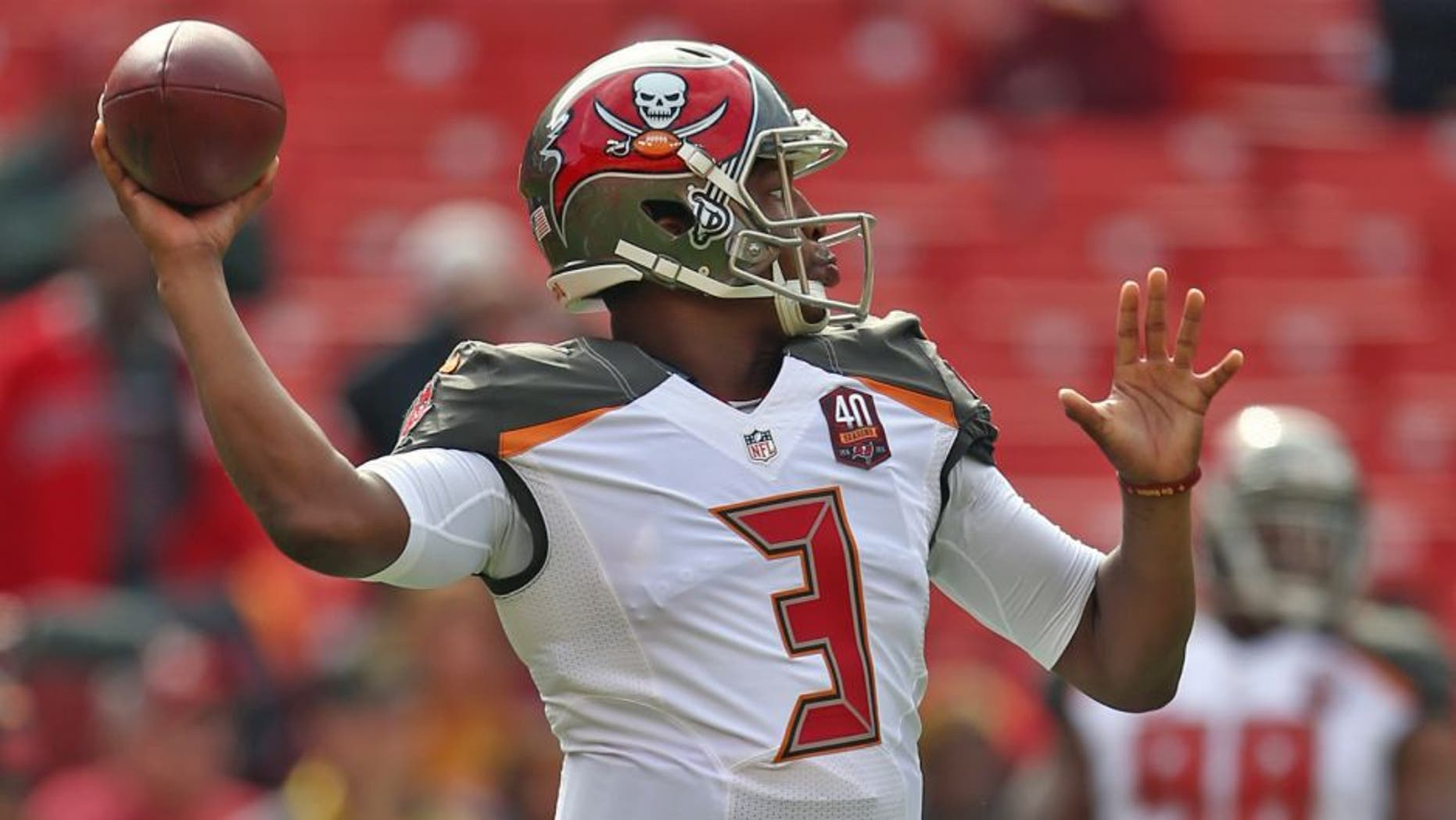 LANDOVER, MD - OCTOBER 25: Quarterback Jameis Winston #3 of the Tampa Bay Buccaneers warms up prior to the start of a game against the Washington Redskins at FedExField on October 25, 2015 in Landover, Maryland. (Photo by Matt Hazlett/Getty Images)