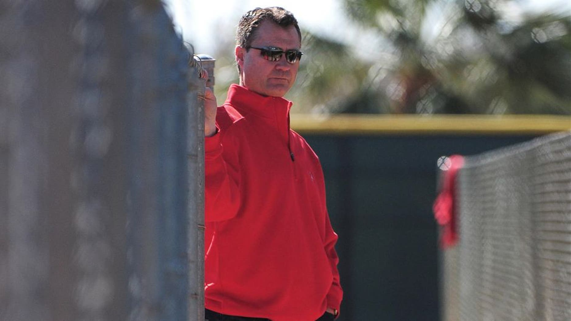 February 21, 2012; Tempe, AZ, USA; Los Angeles Angels assistant general manager Scott Servais watches during spring training at Tempe Diablo Stadium. Mandatory Credit: Kyle Terada-USA TODAY Sports