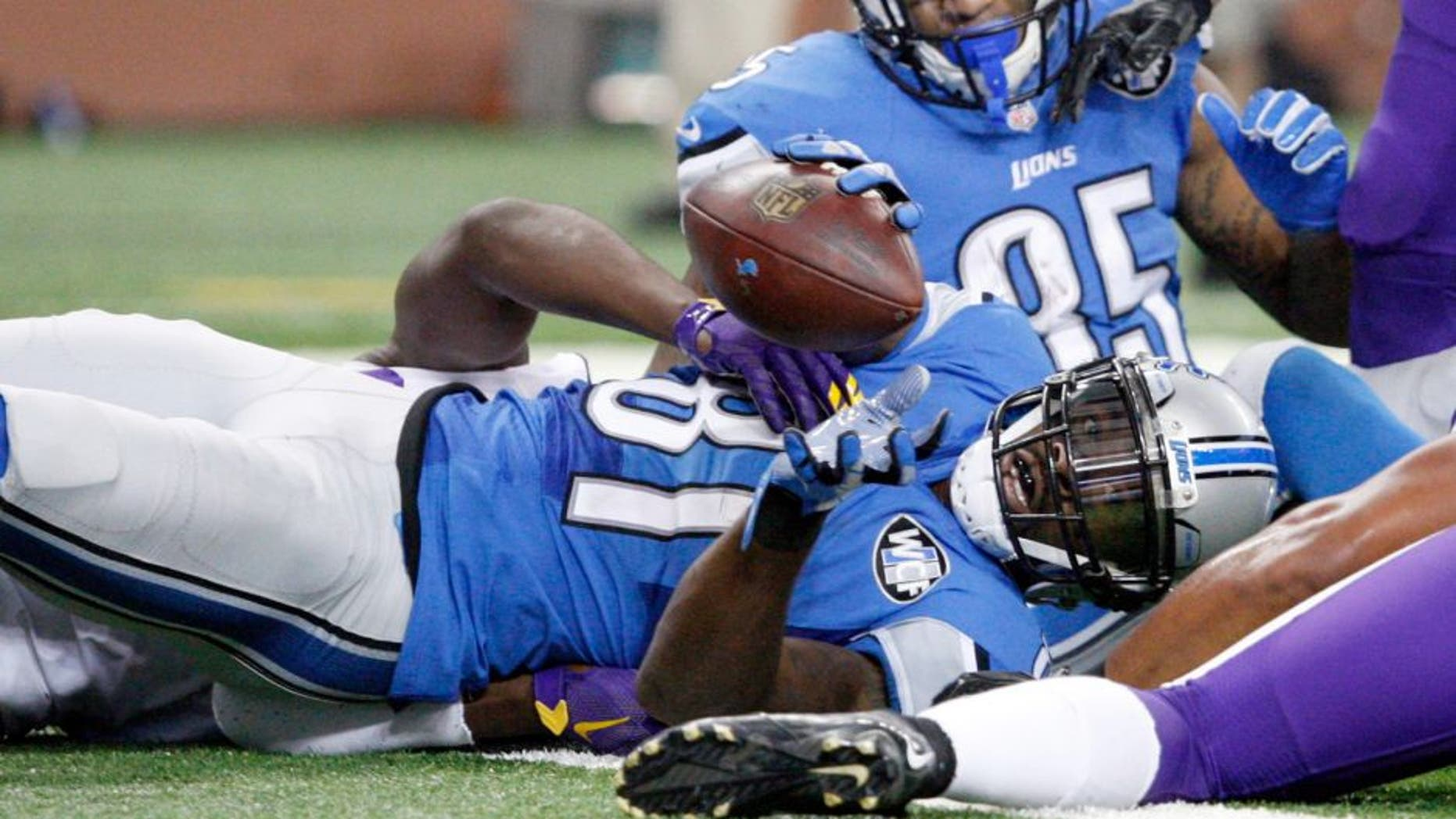 Oct 25, 2015; Detroit, MI, USA; Detroit Lions wide receiver Calvin Johnson (81) lays on the goal line during the fourth quarter against the Minnesota Vikings at Ford Field. Vikings win 28-19. Mandatory Credit: Raj Mehta-USA TODAY Sports