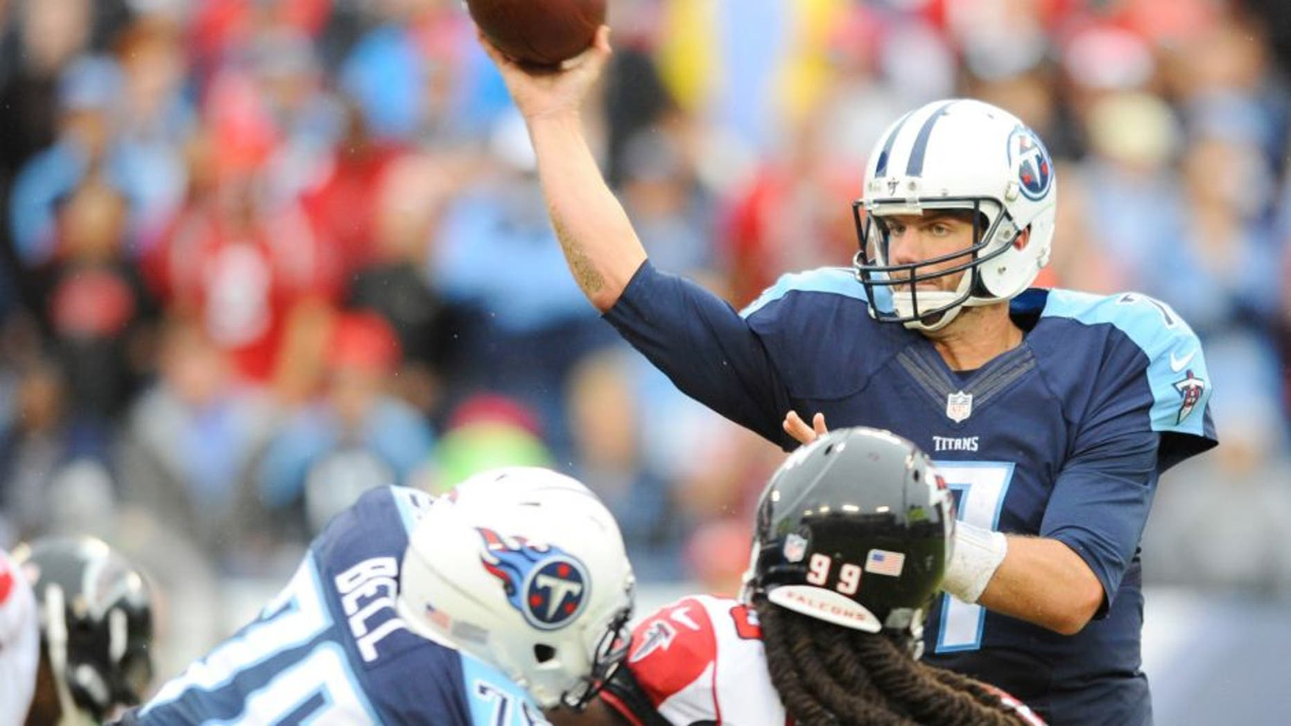 Oct 25, 2015; Nashville, TN, USA; Tennessee Titans quarterback Zach Mettenberger (7) passes the ball during the second half against the Atlanta Falcons at Nissan Stadium. The Falcons won 10-7. Mandatory Credit: Christopher Hanewinckel-USA TODAY Sports