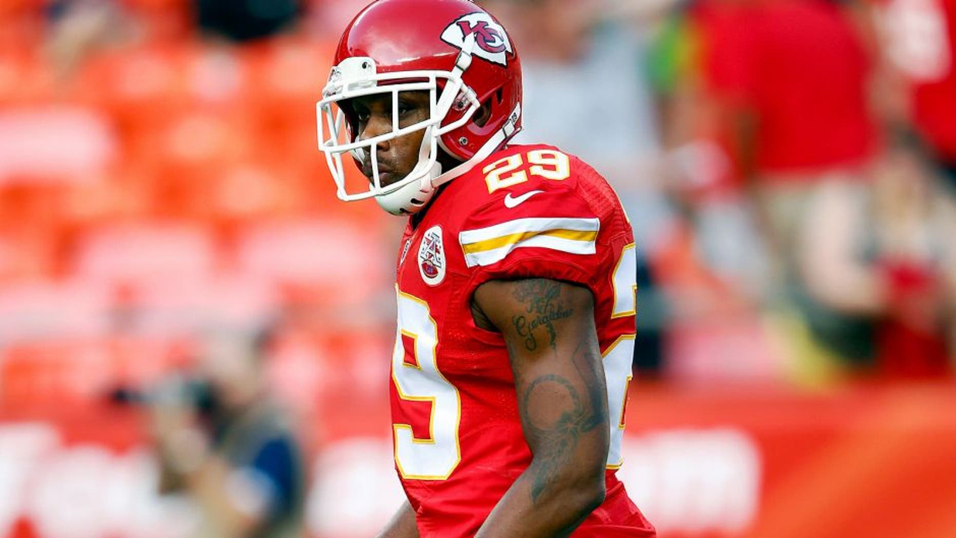 KANSAS CITY, MO - AUGUST 21: Strong safety Eric Berry #29 of the Kansas City Chiefs warms up prior to the preaseason game against the Seattle Seahawks at Arrowhead Stadium on August 21, 2015 in Kansas City, Missouri. (Photo by Jamie Squire/Getty Images)