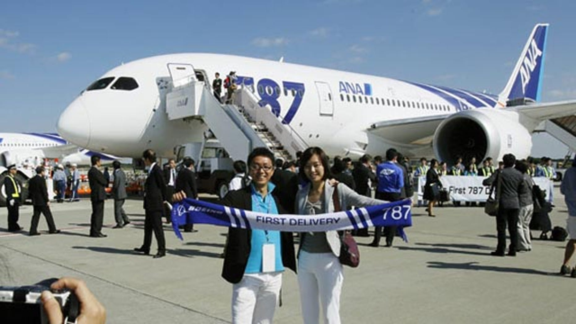 October 26, 2011: An All Nippon Airways Boeing 787 lands at Hong Kong International Airport for the airplane's inaugural commercial flight from Japan.