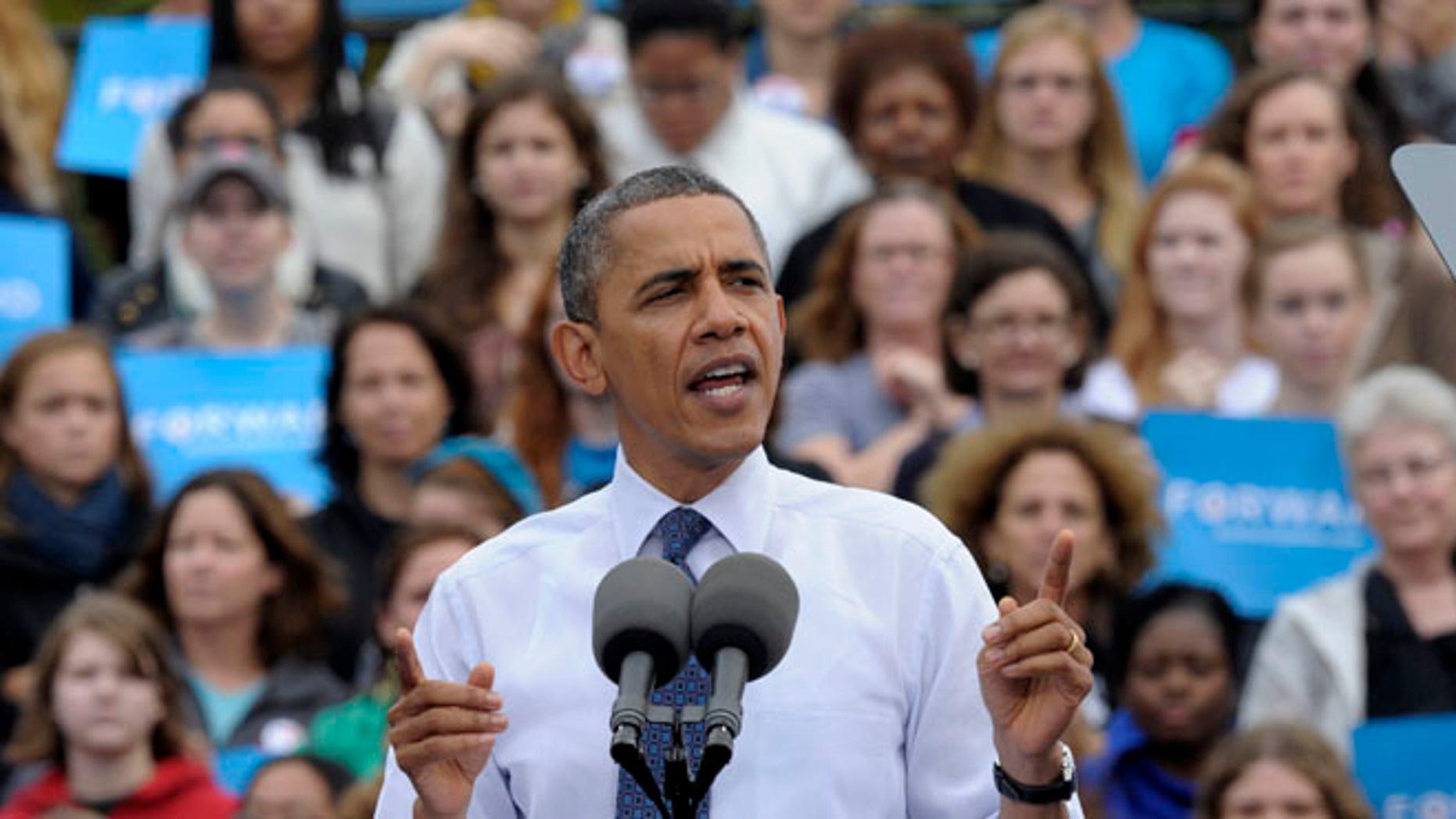 Oct. 19, 2012: President Barack Obama speaks about choice facing women in the election during a campaign event at George Mason University in Fairfax, Va.