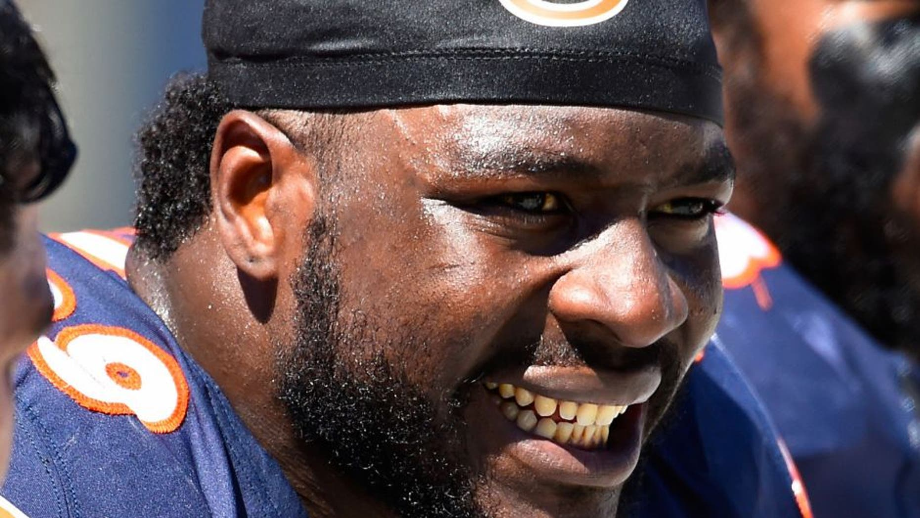 Sep 7, 2014; Chicago, IL, USA; Chicago Bears defensive end Lamarr Houston (99) during the second quarter at Soldier Field. Mandatory Credit: Mike DiNovo-USA TODAY Sports