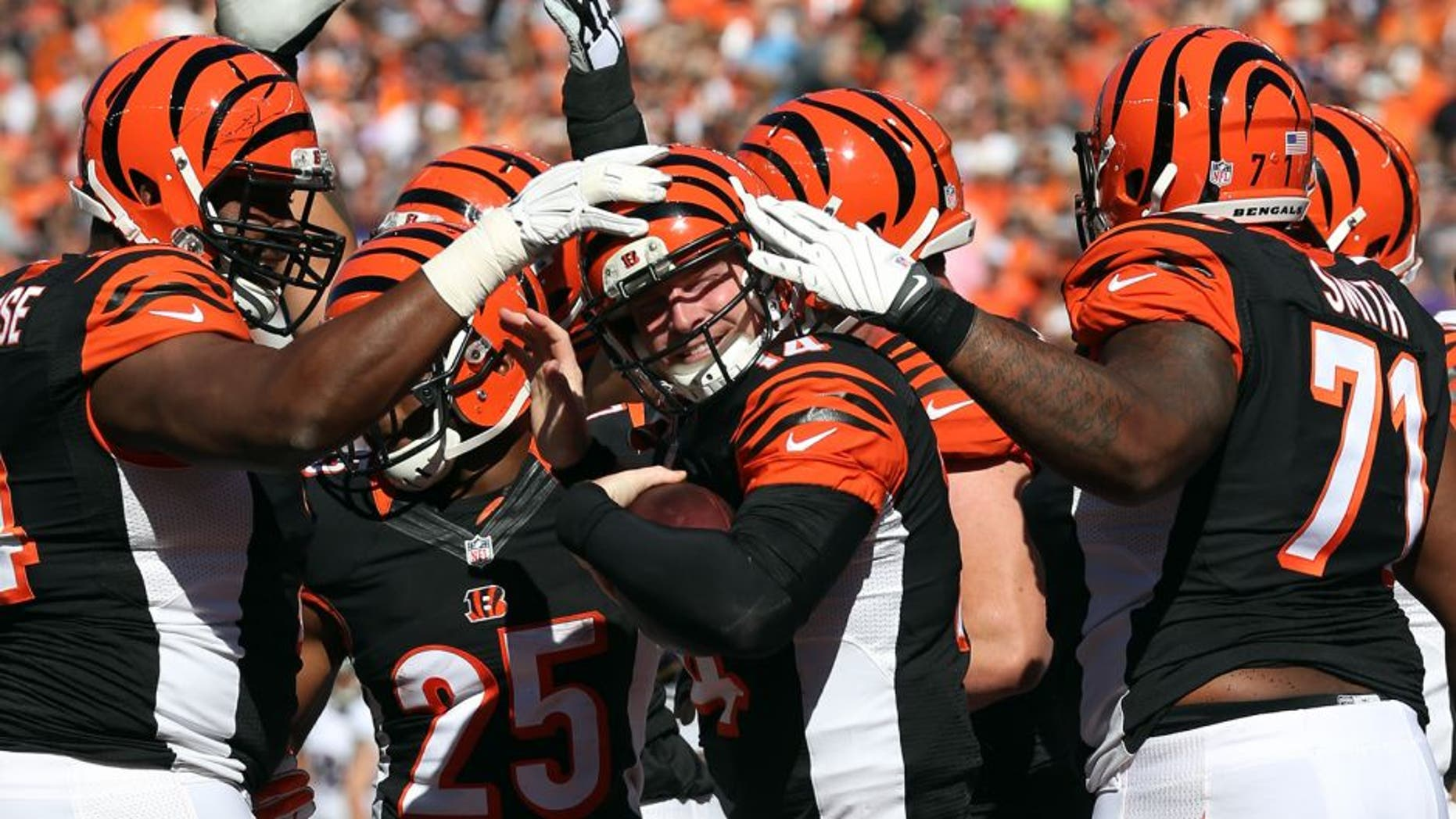 Cincinnati Bengals quarterback Andy Dalton, center, is congratulated by teammates Marshall Newhouse, left, and Andre Smith after scoring a touchdown against the Baltimore Ravens during the first half of an NFL football game in Cincinnati, Sunday, Oct. 26, 2014. (AP Photo/Michael Conroy)