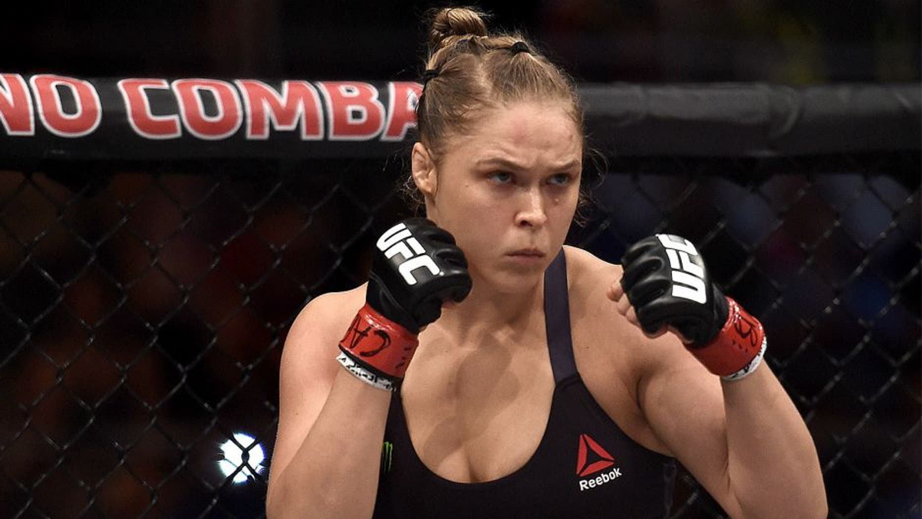 RIO DE JANEIRO, BRAZIL - AUGUST 01: Ronda Rousey of the United States looks on prior to her bantamweight title fight Bethe Correia of Brazil during the UFC 190 Rousey v Correia at HSBC Arena on August 1, 2015 in Rio de Janeiro, Brazil. (Photo by Buda Mendes/Zuffa LLC/Zuffa LLC via Getty Images)