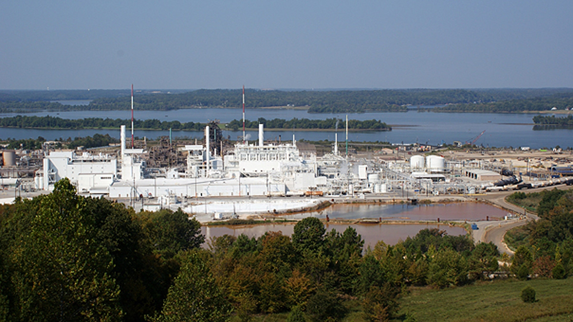 This undated handout photo provided by DuPont shows their titanium dioxide factory plant in New Johnsonville, Tenn. Some of the country's largest polluters of heat-trapping gases, including businesses that publicly support curbs on global warming, don't want the public knowing exactly how much they pollute.