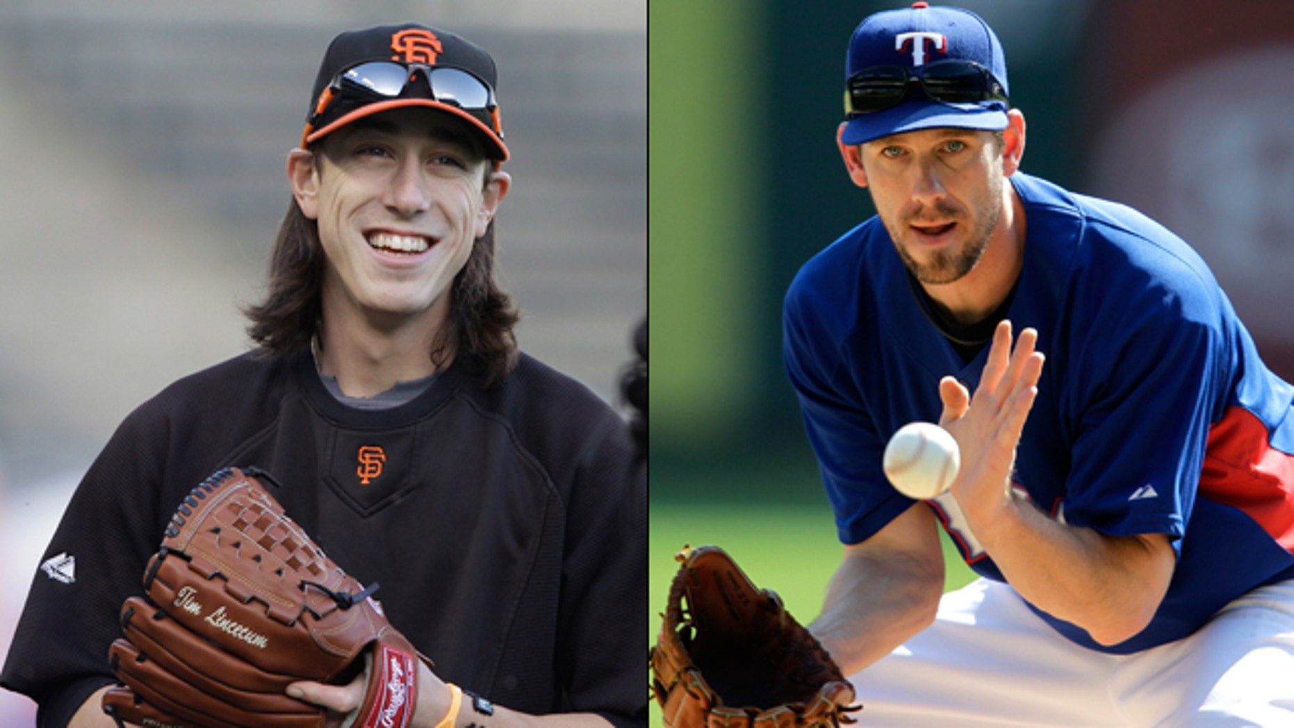 Tim Lincecum of the San Francisco Giants, left, faces Cliff Lee of the Texas Rangers in Game 1 of the World Series.