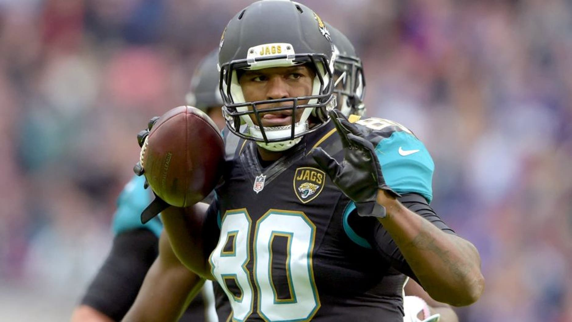 Oct 25, 2015; London, United Kingdom; Jacksonville Jaguars tight end Julius Thomas (80) celebrates after a catch against the Buffalo Bills during NFL International Series game at Wembley Stadium. Mandatory Credit: Kirby Lee-USA TODAY Sports