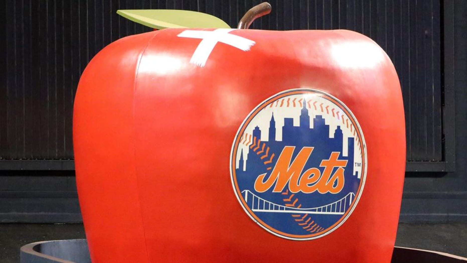 Oct 18, 2015; New York City, NY, USA; A general view as the apple in center field sports a bandage where it was hit on a solo home run hit by New York Mets catcher Travis d'Arnaud (not pictured) during yesterday's game one of the NLCS against the Chicago Cubs , as seen prior to game two at Citi Field. Mandatory Credit: Anthony Gruppuso-USA TODAY Sports