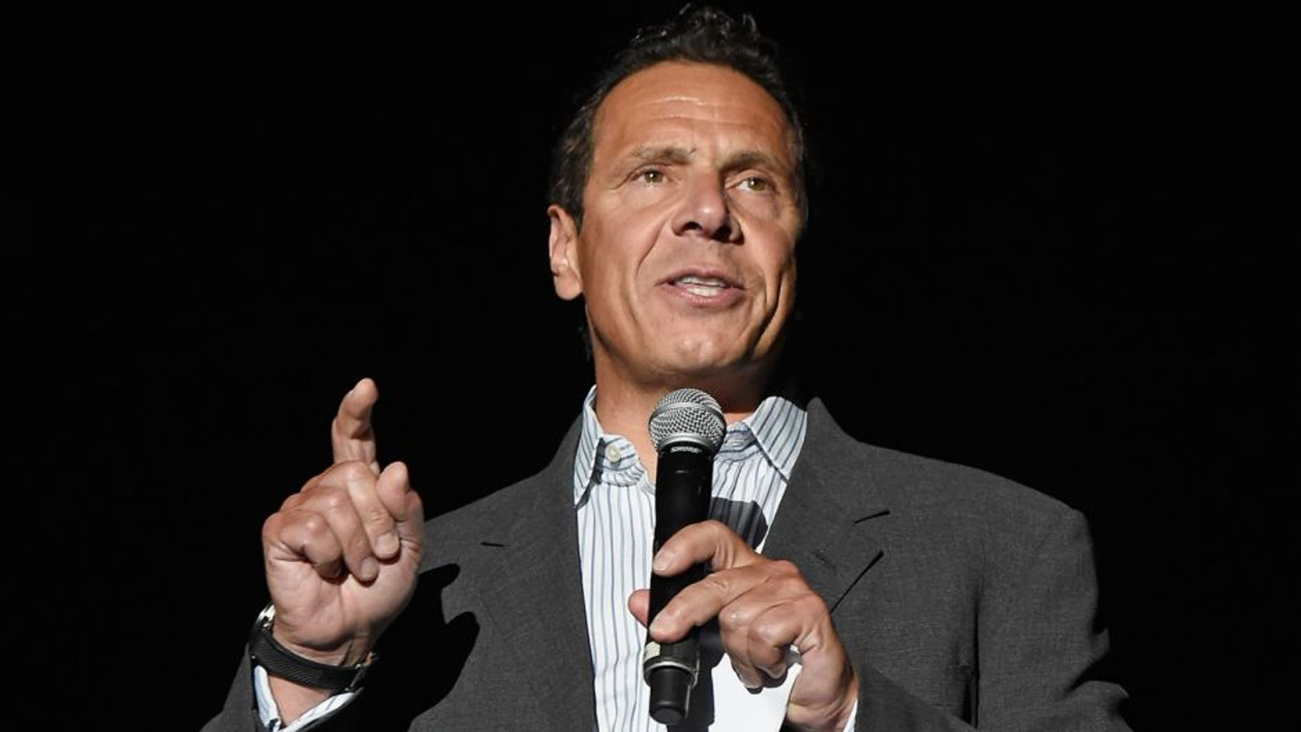 NEW YORK, NY - AUGUST 04: Governor of New York Andrew Cuomo speaks onstage before Billy Joel performs the final show at Nassau Coliseum on August 4, 2015 in Long Island, New York. (Photo by Kevin Mazur/WireImage)
