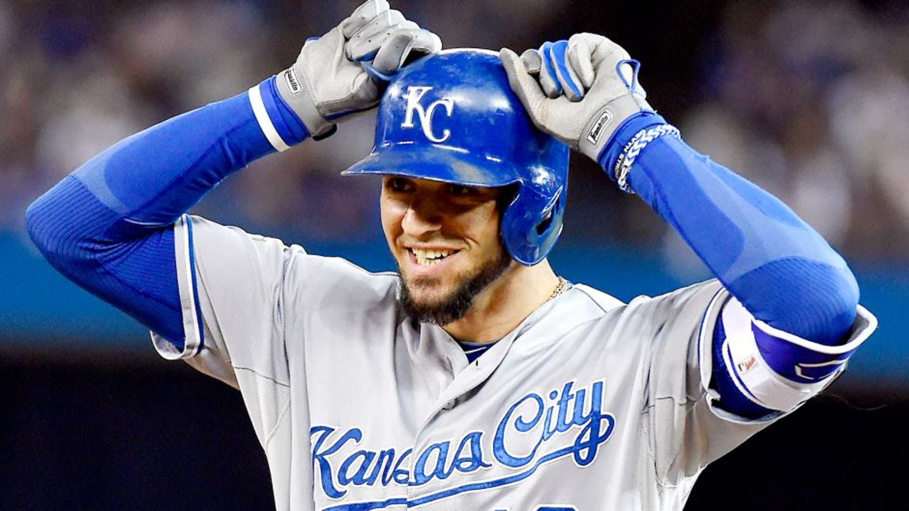 The Kansas City Royals' Paulo Orlando celebrates after hitting a single to load the bases in the eighth inning against the Toronto Blue Jays during Game 4 of the ALCS on Tuesday, Oct. 20, 2015, at Rogers Centre in Toronto. (John Sleezer/Kansas City Star/TNS via Getty Images)