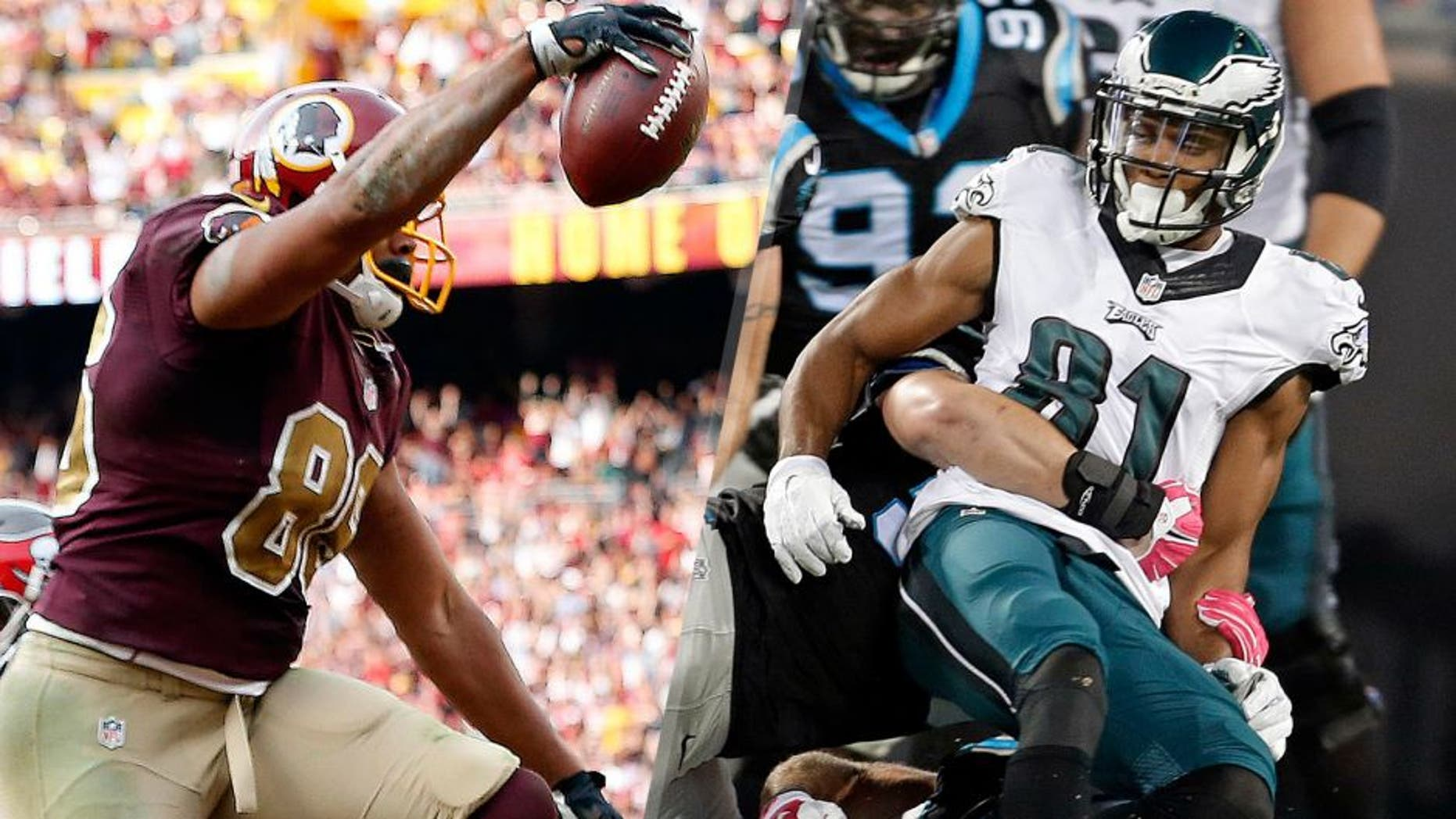 Washington Redskins tight end Jordan Reed (86) celebrates after catching the game-winning touchdown against the Tampa Bay Buccaneers in the final seconds of the fourth quarter at FedEx Field. The Redskins won 31-30. Mandatory Credit: Geoff Burke-USA TODAY Sports Carolina Panthers' Colin Jones, bottom, recovers the ball as Philadelphia Eagles' Jordan Matthews, right, is tackled in the first half of an NFL football game in Charlotte, N.C., Sunday, Oct. 25, 2015. The Panthers recovered the Matthews fumble. (AP Photo/Bob Leverone)