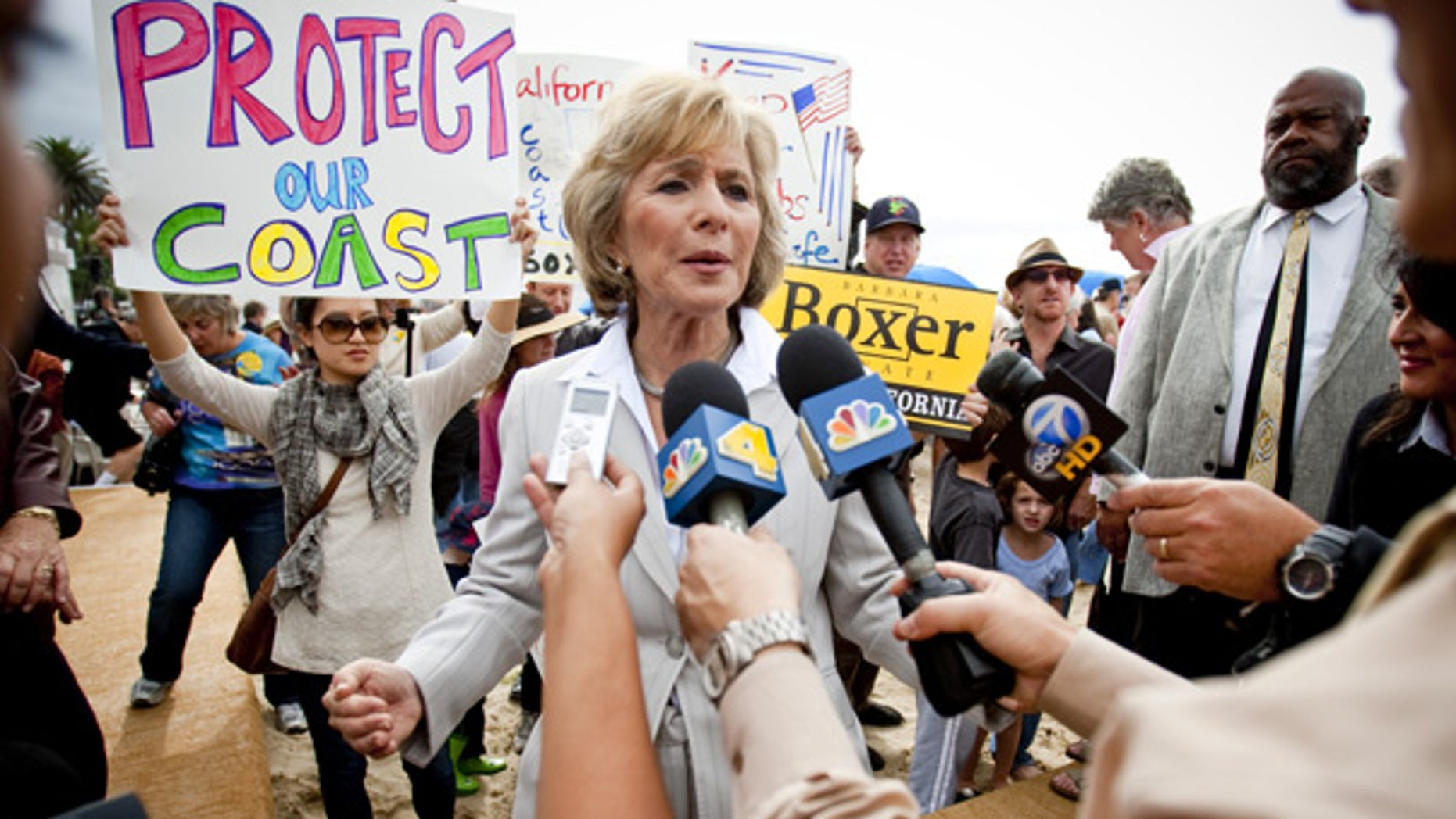 Oct. 23: Sen. Barbara Boxer speaks to the media after talking to supporters in Santa Monica, Calif.