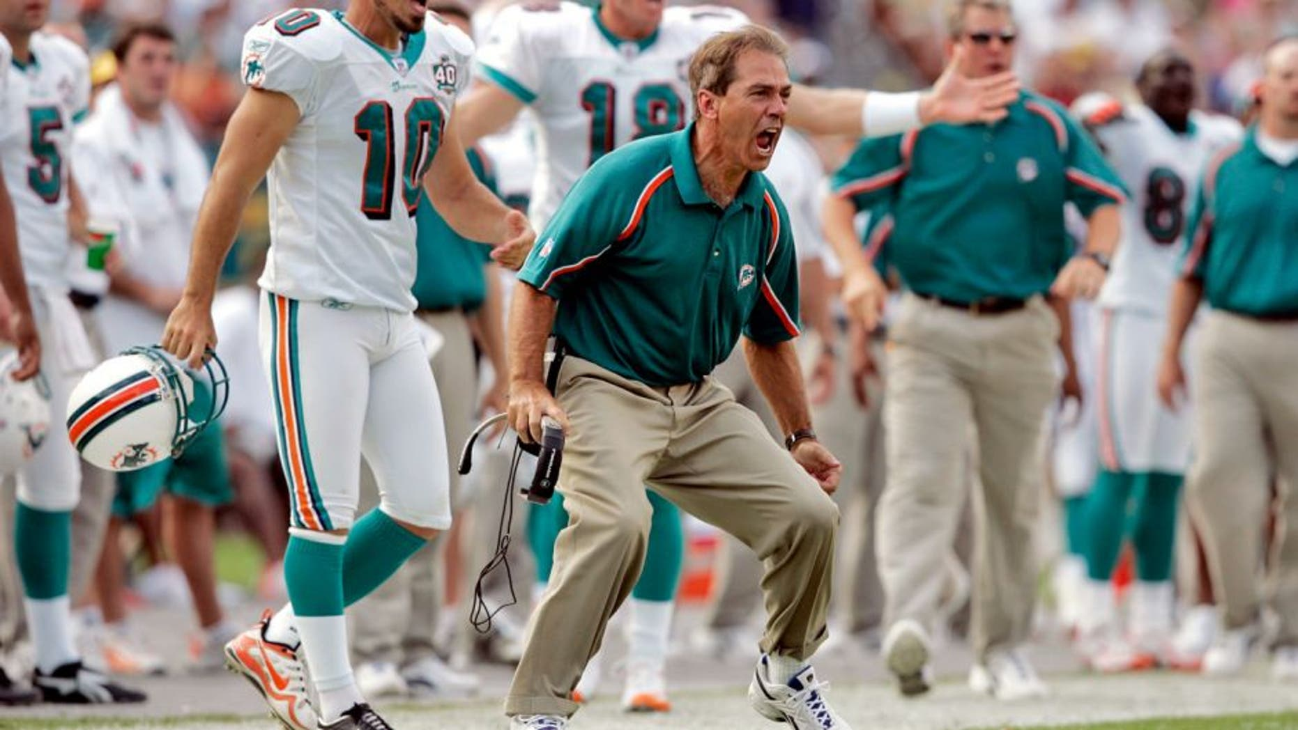 MIAMI, FL - NOVEMBER 13: Nick Saban head coach of the Miami Dolphins argues a pass interference call against his team against the New England Patriots at Dolphins Stadium on November 13, 2005 in Miami, Florida. The Patriots defeated the Dolphins 23-16. (Photo by Joe Robbins/Getty Images)