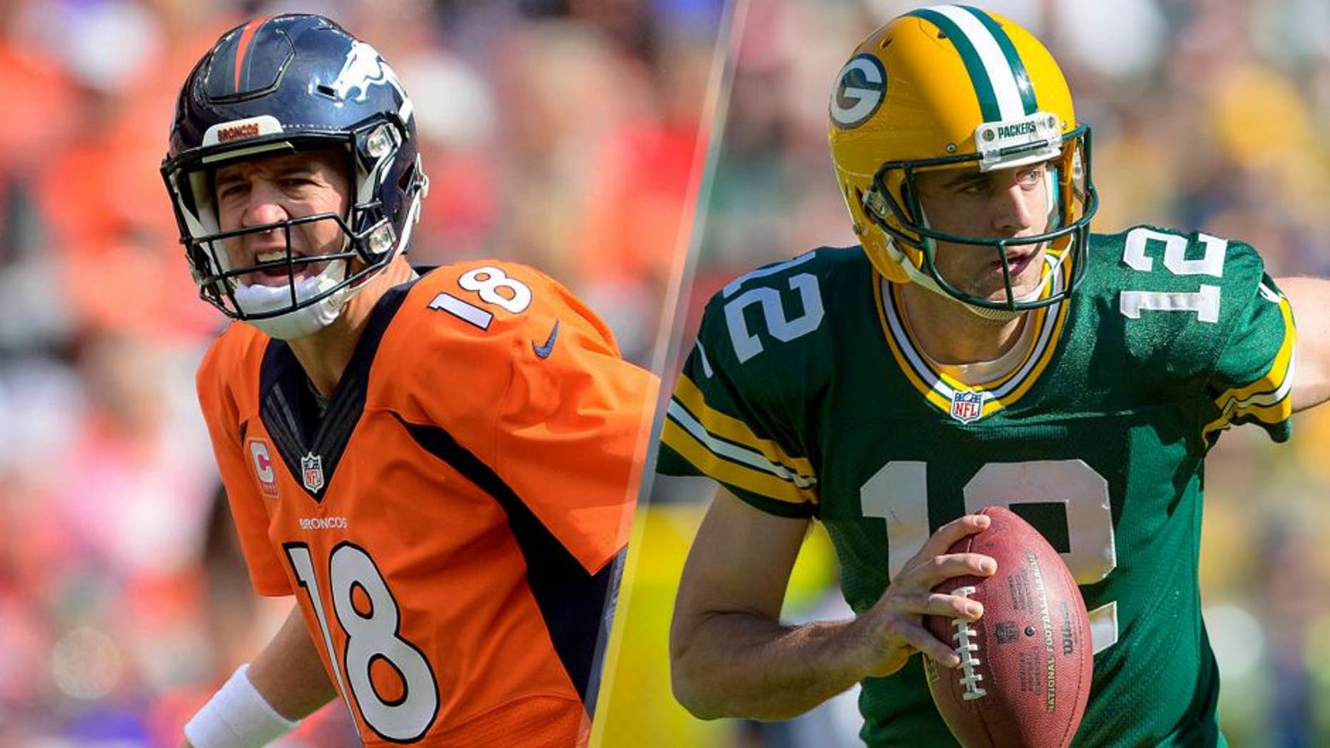 Oct 4, 2015; Denver, CO, USA; Denver Broncos quarterback Peyton Manning (18) calls out in the first quarter against the Minnesota Vikings at Sports Authority Field at Mile High. Mandatory Credit: Ron Chenoy-USA TODAY Sports Oct 11, 2015; Green Bay, WI, USA; Green Bay Packers quarterback Aaron Rodgers (12) during the game against the St. Louis Rams at Lambeau Field. Green Bay won 24-10. Mandatory Credit: Jeff Hanisch-USA TODAY Sports