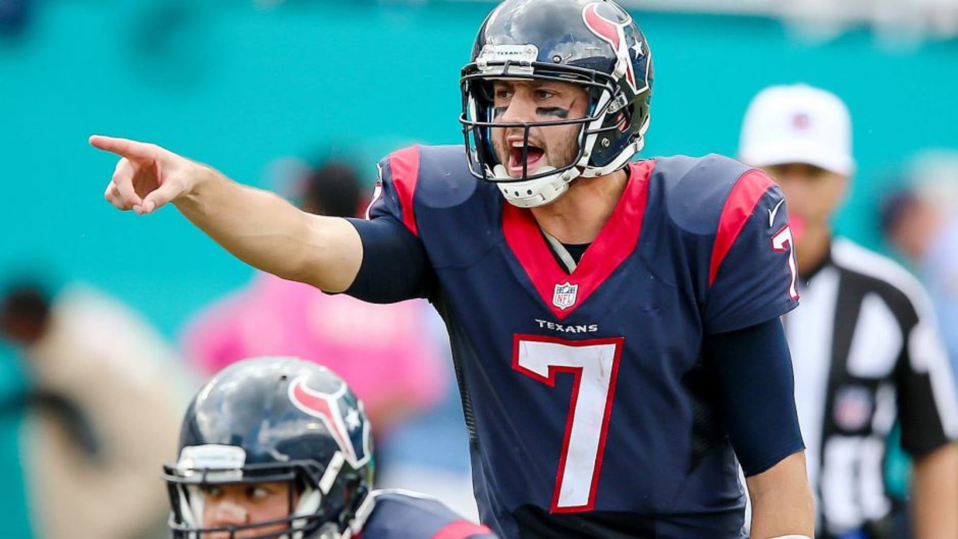 Oct 25, 2015; Miami Gardens, FL, USA; Houston Texans quarterback Brian Hoyer (7) yells out from the line of scrimmage against the Miami Dolphins during the second half at Sun Life Stadium. The Dolphins won 44-26. Mandatory Credit: Steve Mitchell-USA TODAY Sports