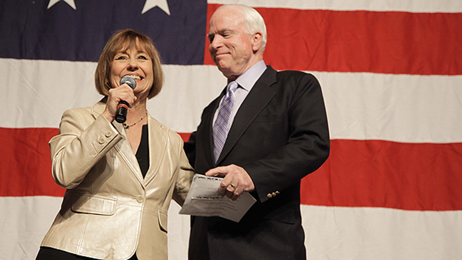Oct. 29: Nevada Senate candidate Sharron Angle, left, introduces Arizona Sen. John McCain during a Get Out the Vote rally in Las Vegas