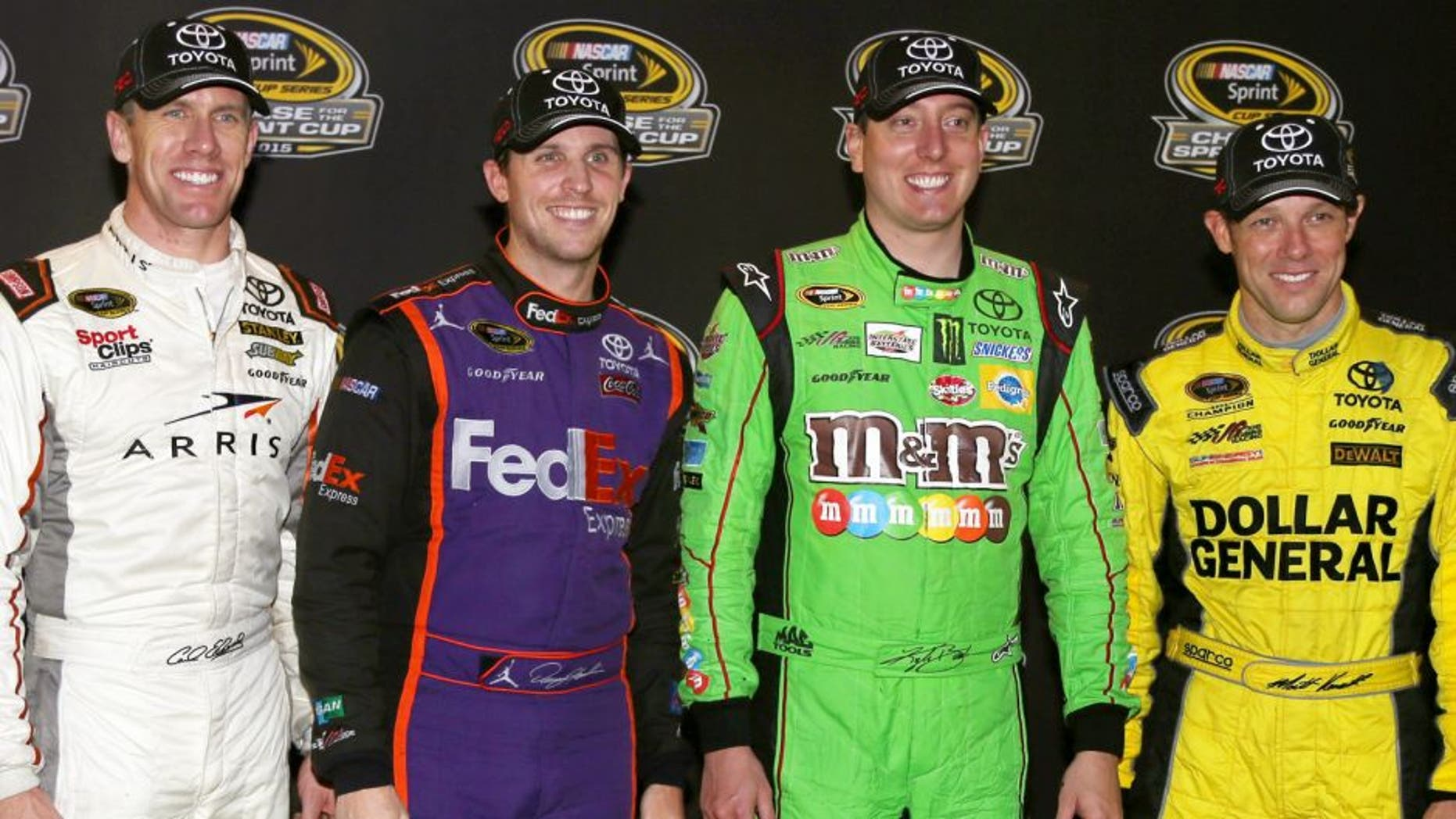 Carl Edwards, driver of the #19 ARRIS Toyota, Denny Hamlin, driver of the #11 FedEx Express Toyota, Kyle Busch, driver of the #18 M&M's Crispy/American Heritage Chocolate Toyota, and Matt Kenseth, driver of the #20 Dollar General Toyota, pose for a photo during the Post Race Party after making the Chase for the Sprint Cup after the NASCAR Sprint Cup Series Federated Auto Parts 400 at Richmond International Raceway on September 12, 2015 in Richmond, Virginia. (Photo by Jerry Markland/Getty Images)