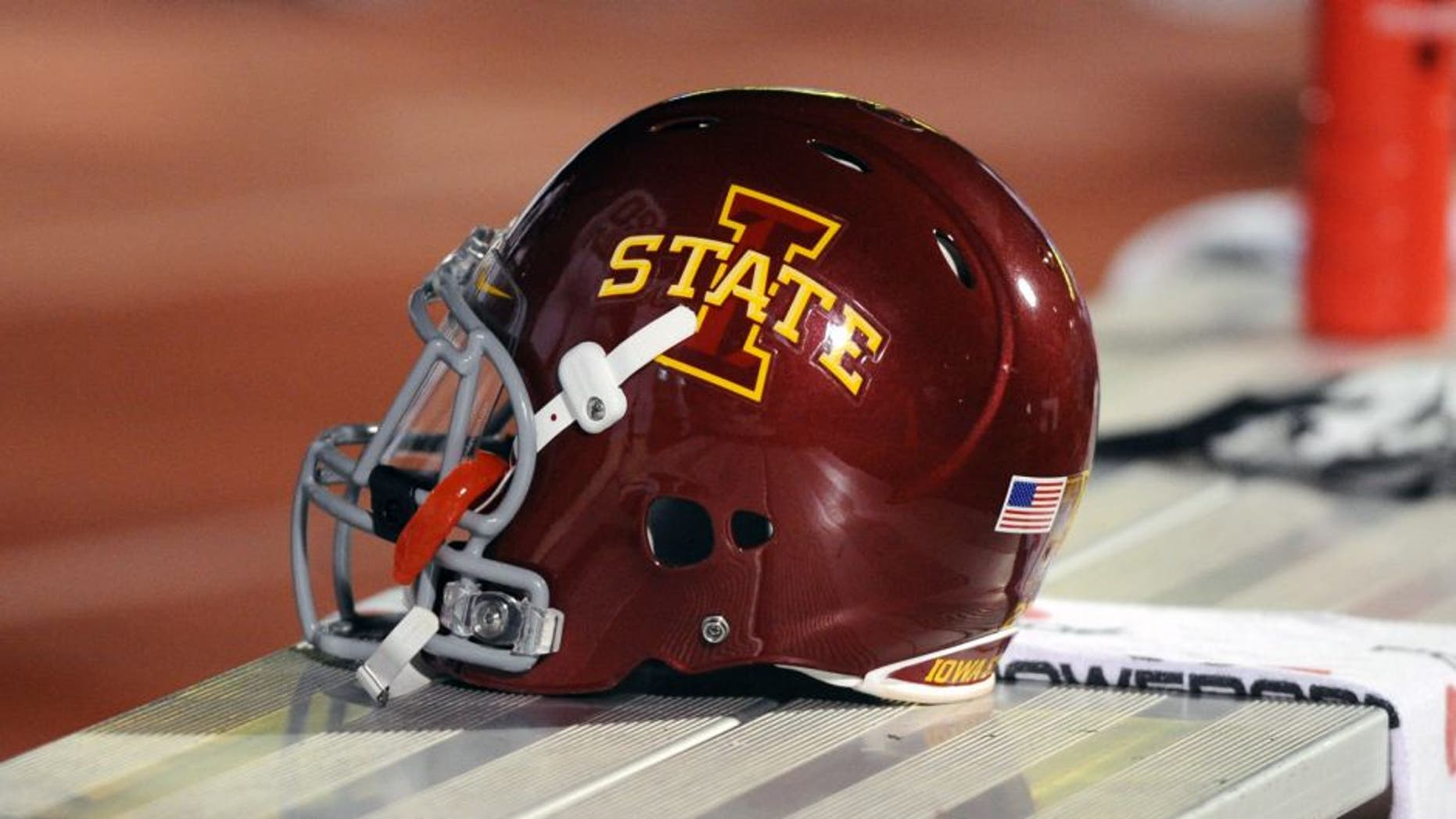 Nov 17, 2012; Lawrence, KS, USA; An Iowa State Cyclones helmet on the bench against the Kansas Jayhawks in the second half at Memorial Stadium. Iowa State won the game 51-23. Mandatory Credit: John Rieger-USA TODAY Sports