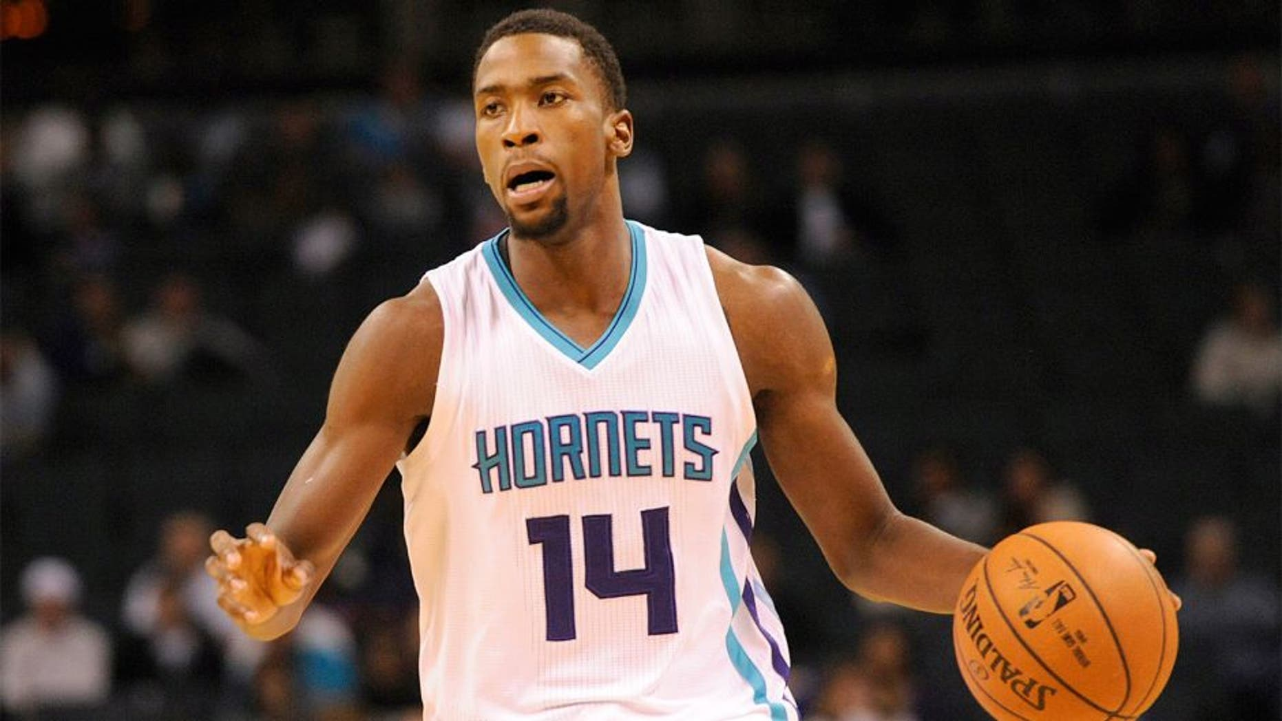 Oct 23, 2014; Charlotte, NC, USA; Charlotte Hornets forward Michael Kidd-Gilchrist (14) during the first half of the game against the Indiana Pacers at Time Warner Cable Arena. Mandatory Credit: Sam Sharpe-USA TODAY Sports