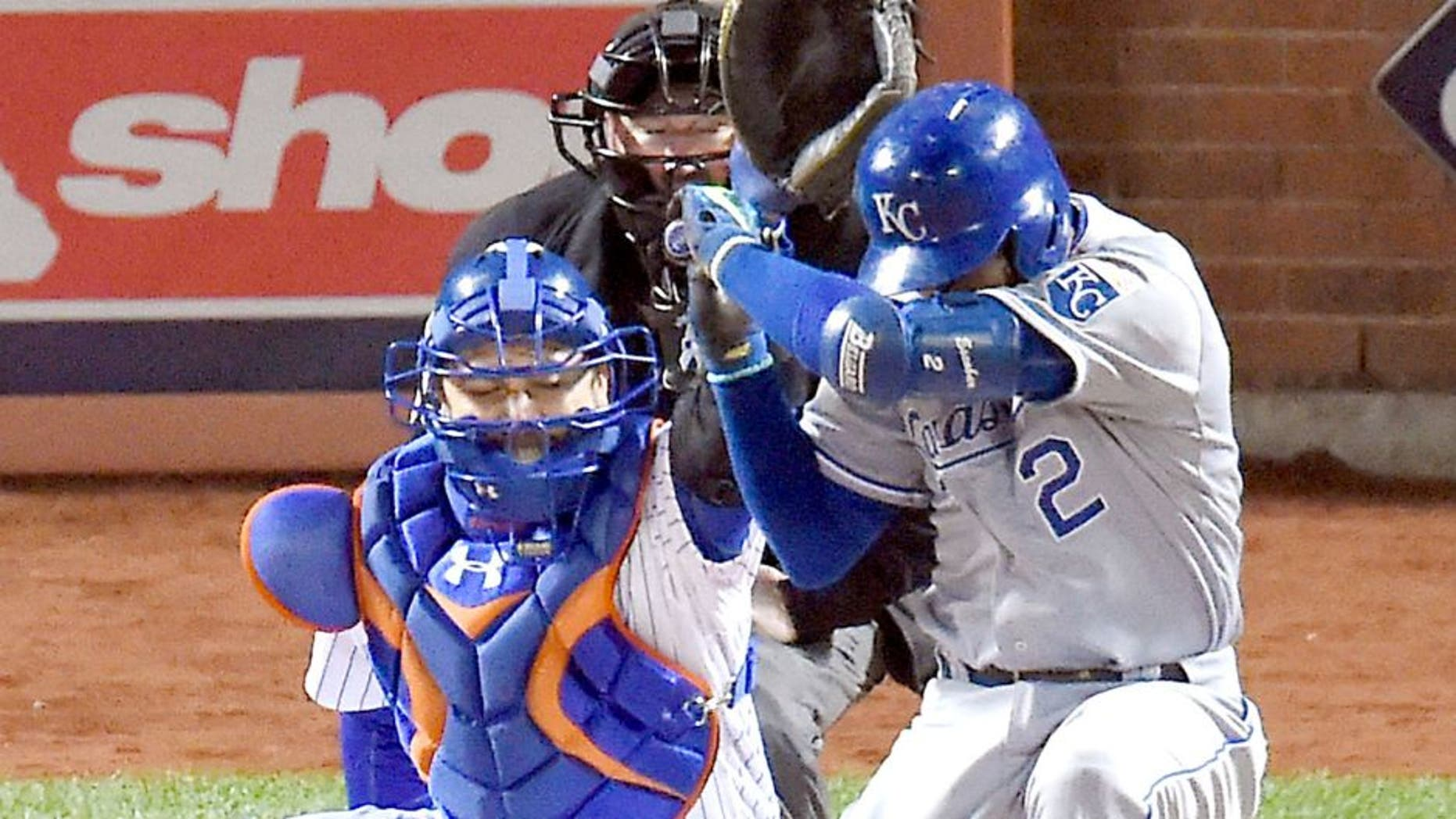 The Kansas City Royals' Alcides Escobar (2) dodges the first pitch by New York Mets pitcher Noah Syndergaard in the first inning during Game 3 of the World Series on Friday, Oct. 30, 2015, at Citi Field in New York. (David Eulitt/Kansas City Star/TNS via Getty Images)