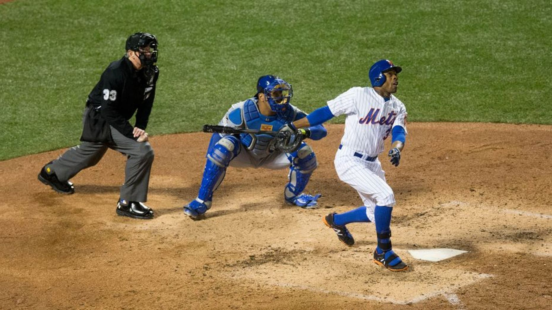 NEW YORK, NY - OCTOBER 30: Curtis Granderson #3 of the New York Mets bats during Game 3 of the 2015 World Series against the Kansas City Royals at Citi Field on Friday, October 30, 2015 in the Queens borough of New York City. (Photo by Rob Tringali/MLB Photos via Getty Images)