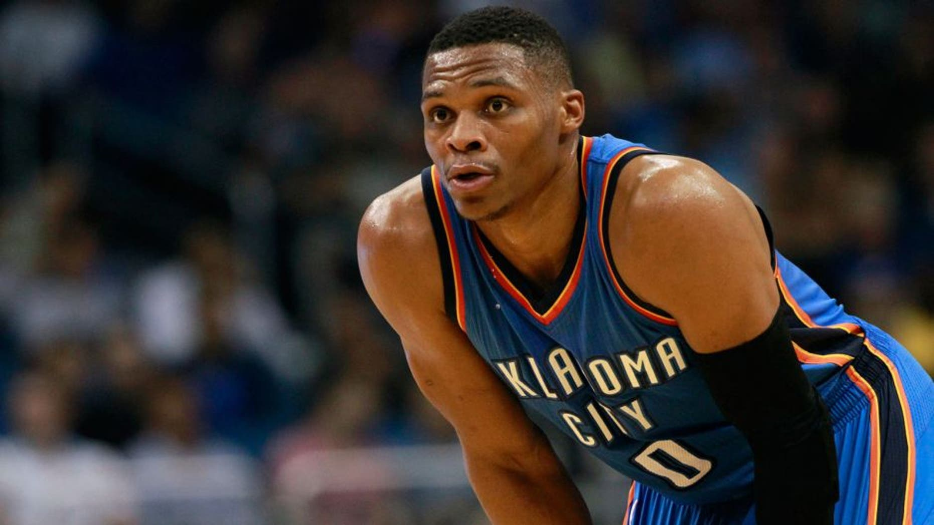 Oct 30, 2015; Orlando, FL, USA; Oklahoma City Thunder guard Russell Westbrook (0) looks on against the Orlando Magic during the second quarter at Amway Center. Mandatory Credit: Kim Klement-USA TODAY Sports