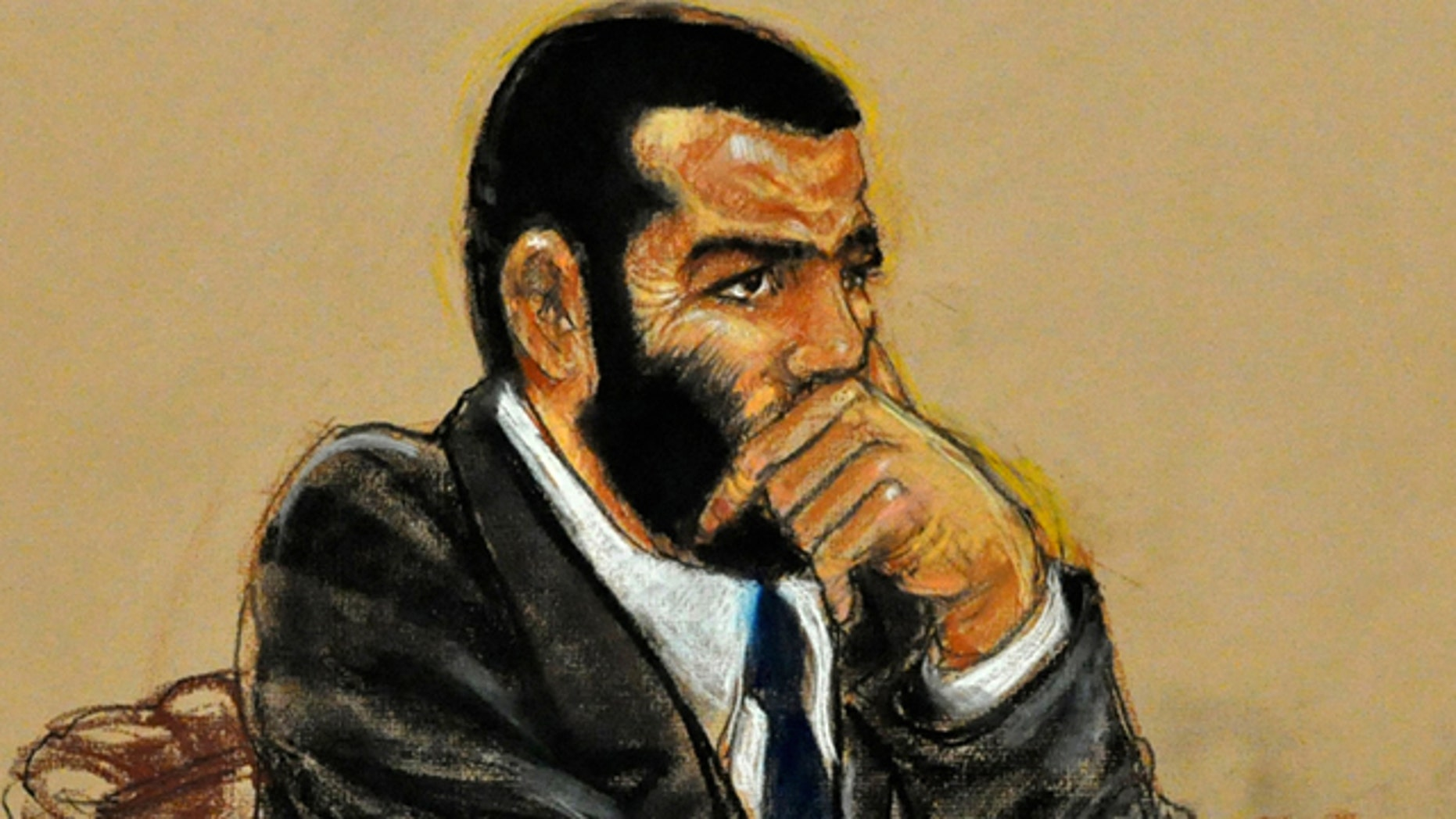 Oct. 30: In this photo of a sketch by courtroom artist Janet Hamlin and reviewed by the U.S. Department of Defense, Canadian detainee Omar Khadr listens to closing arguments on his sentence trial at Camp Justice on Guantanamo Bay U.S. Naval Base in Cuba.