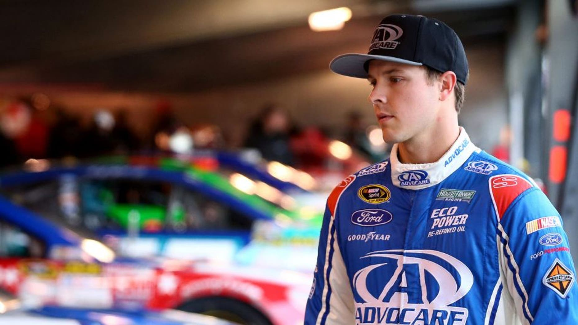 MARTINSVILLE, VA - OCTOBER 31: Trevor Bayne, driver of the #6 AdvoCare Ford, stands in the garage area during practice for the NASCAR Sprint Cup Series Goody's Headache Relief Shot 500 at Martinsville Speedway on October 31, 2015 in Martinsville, Virginia. (Photo by Sarah Crabill/Getty Images)