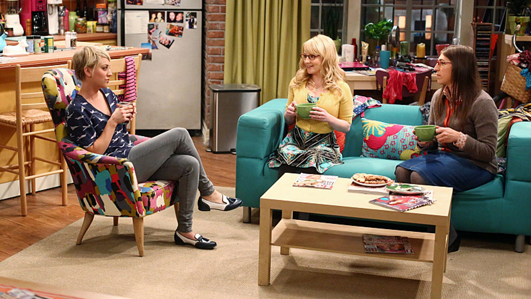 """""""The Misinterpretation Agitation"""" -- The guys try to help Penny out of an awkward work dilemma. Meanwhile, Amy and Bernadette argue over whether or not female scientists should play up their sexuality, on THE BIG BANG THEORY, Thursday, Oct. 30 (8:00-8:31 PM, ET/PT), on the CBS Television Network. Pictured left to right: Kaley Cuoco-Sweeting, Melissa Rauch and Mayim Bialik Photo: Michael Ansell/WBEI ©2014 WBEI. All rights reserved."""