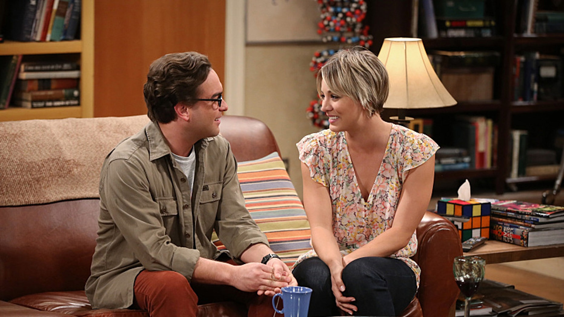 """Johnny Galecki (left) as Leonard and Kaley Cuoco-Sweeting as Penny on CBS' """"The Big Bang Theory."""""""