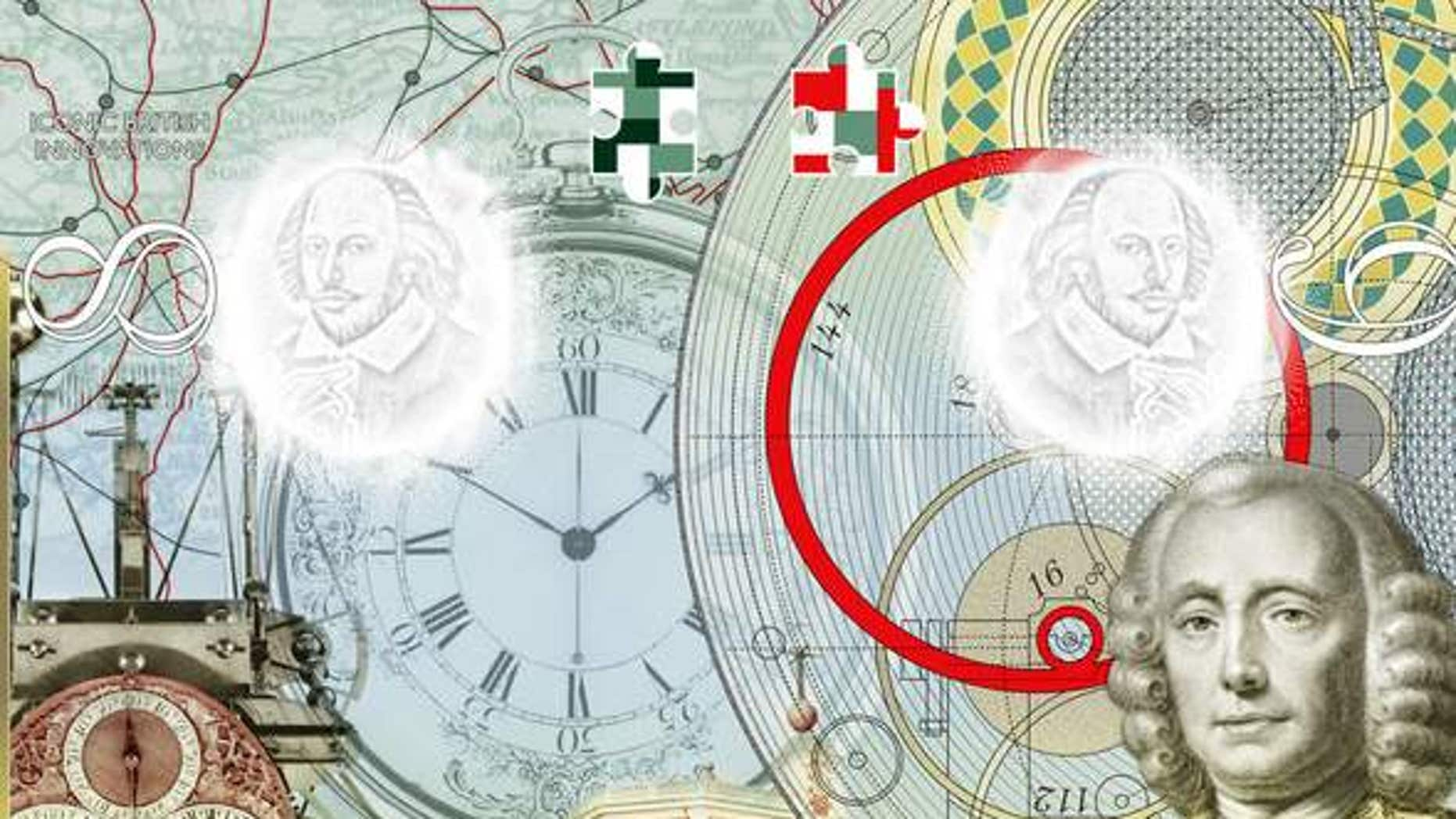 John Harrison is featured in the passport for his work designing the marine clock.