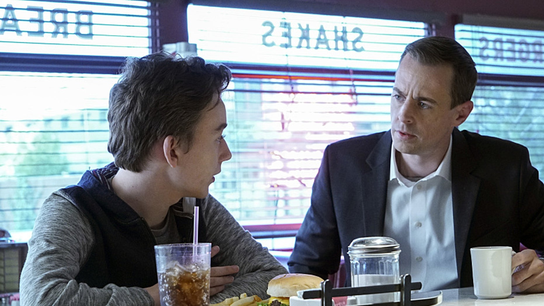 Pictured: Sean Murray (right) as Timothy McGee.