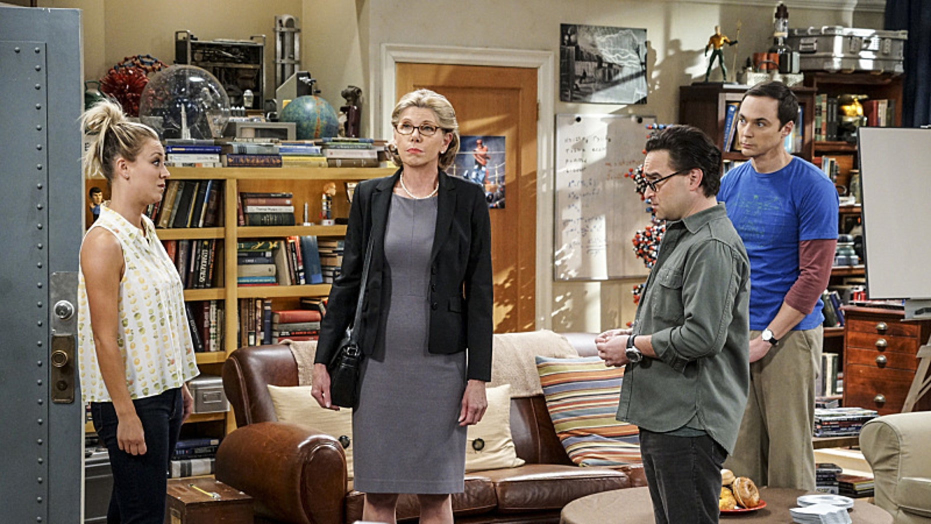 Pictured: Penny (Kaley Cuoco), Beverly (Christine Baranski), Leonard Hofstadter (Johnny Galecki), and Sheldon Cooper (Jim Parsons).