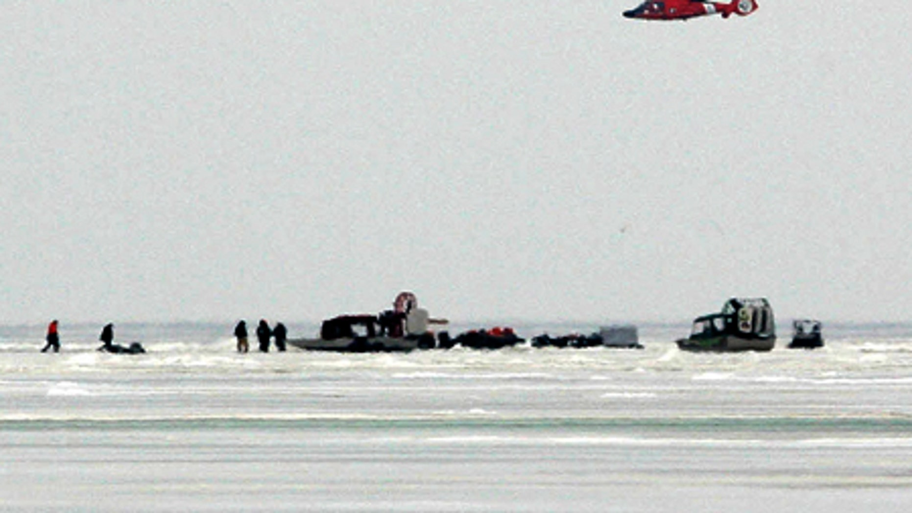 Feb. 7, 2009: Rescue efforts were under way after a slab of ice broke free from the Ohio shore and drifted into Lake Erie.