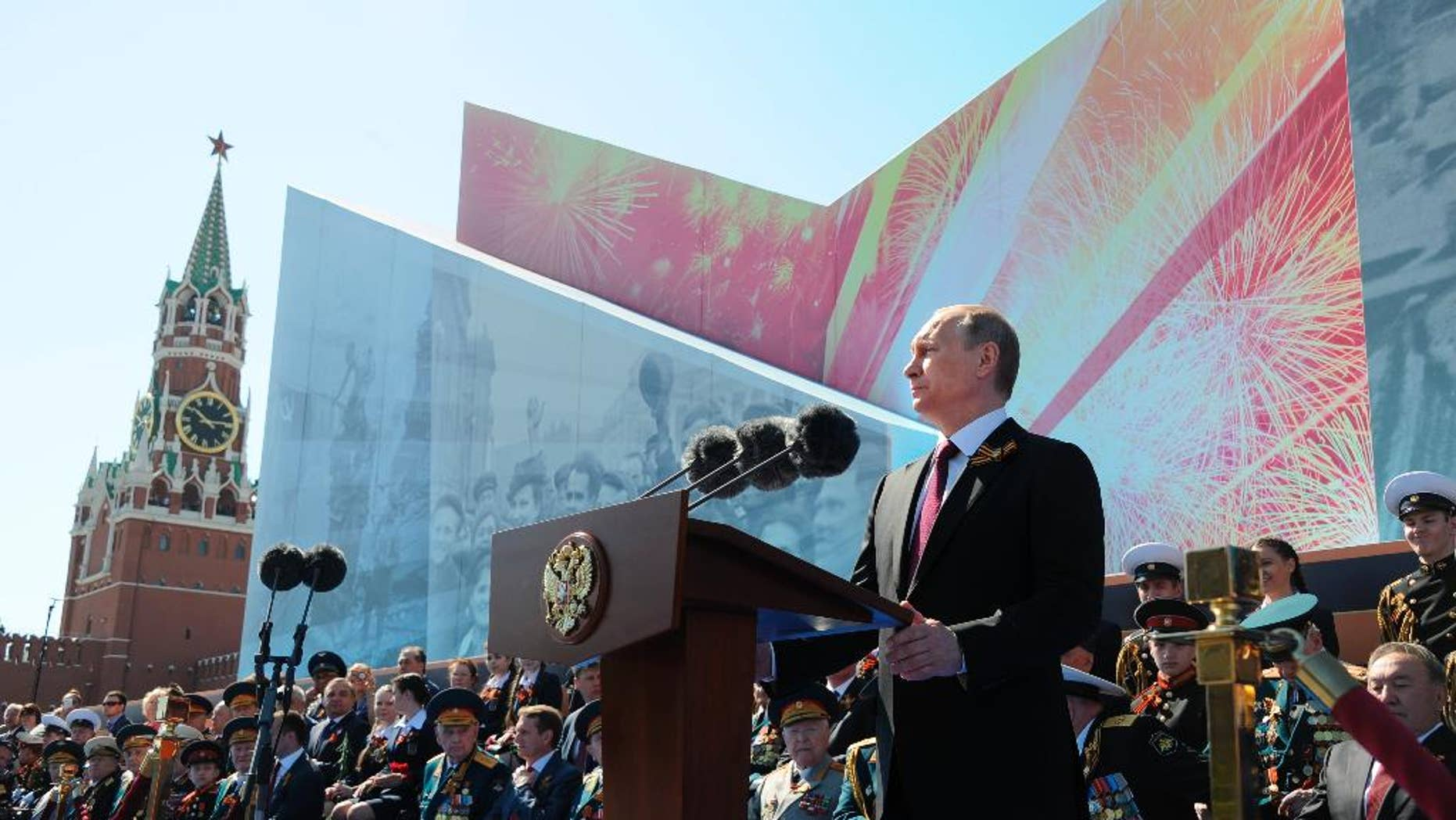 Russian President Vladimir Putin speaks during the Victory Day military parade marking 71 years after the victory in WWII, in Moscow's Red Square.