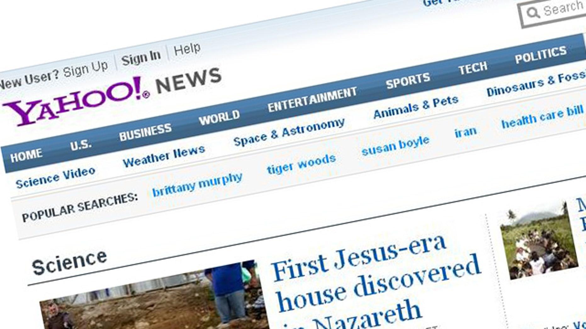 A screenshot of the website for Internet giant Yahoo.com.